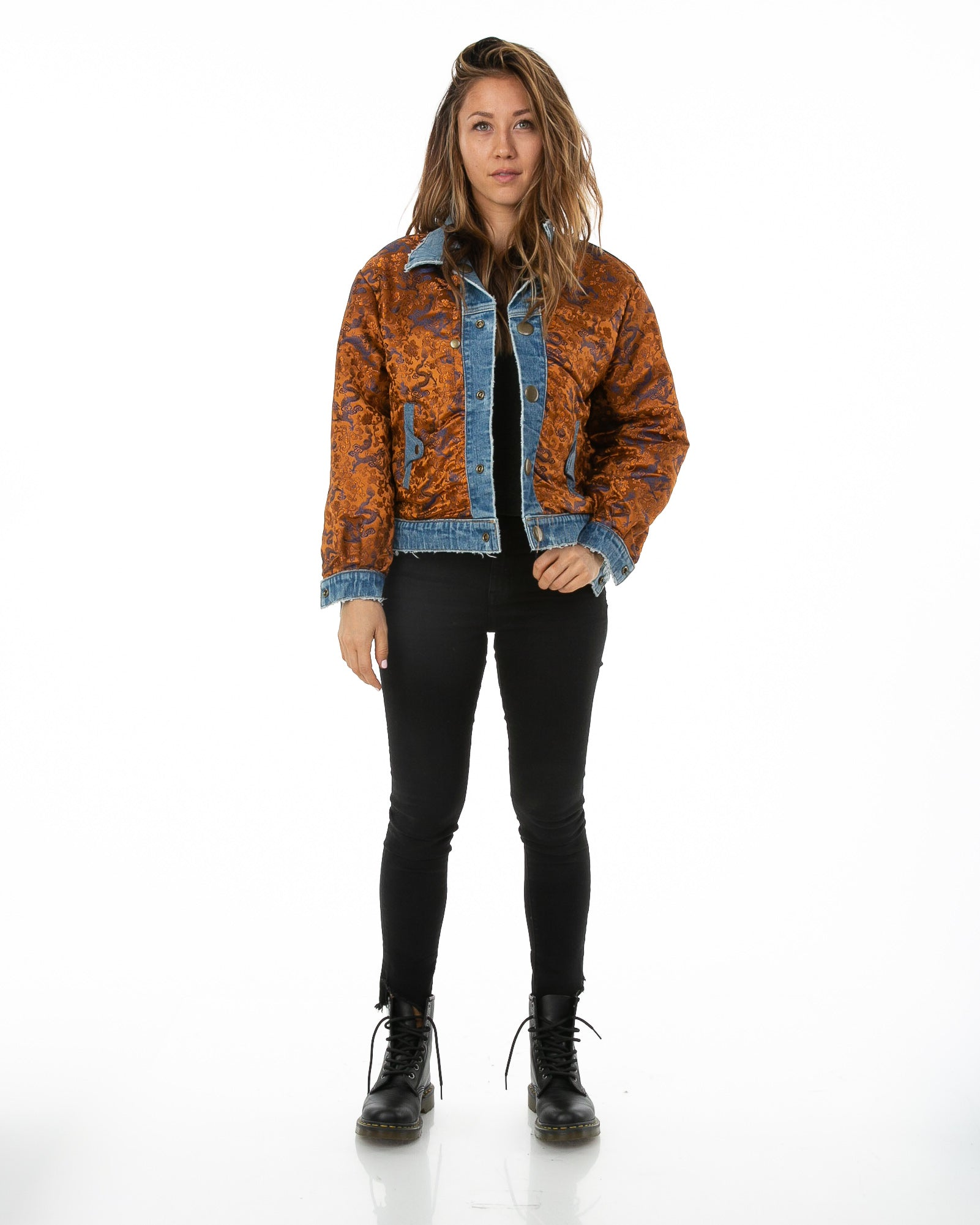 Front of female model wearing Dynasty Reversible Denim jacket