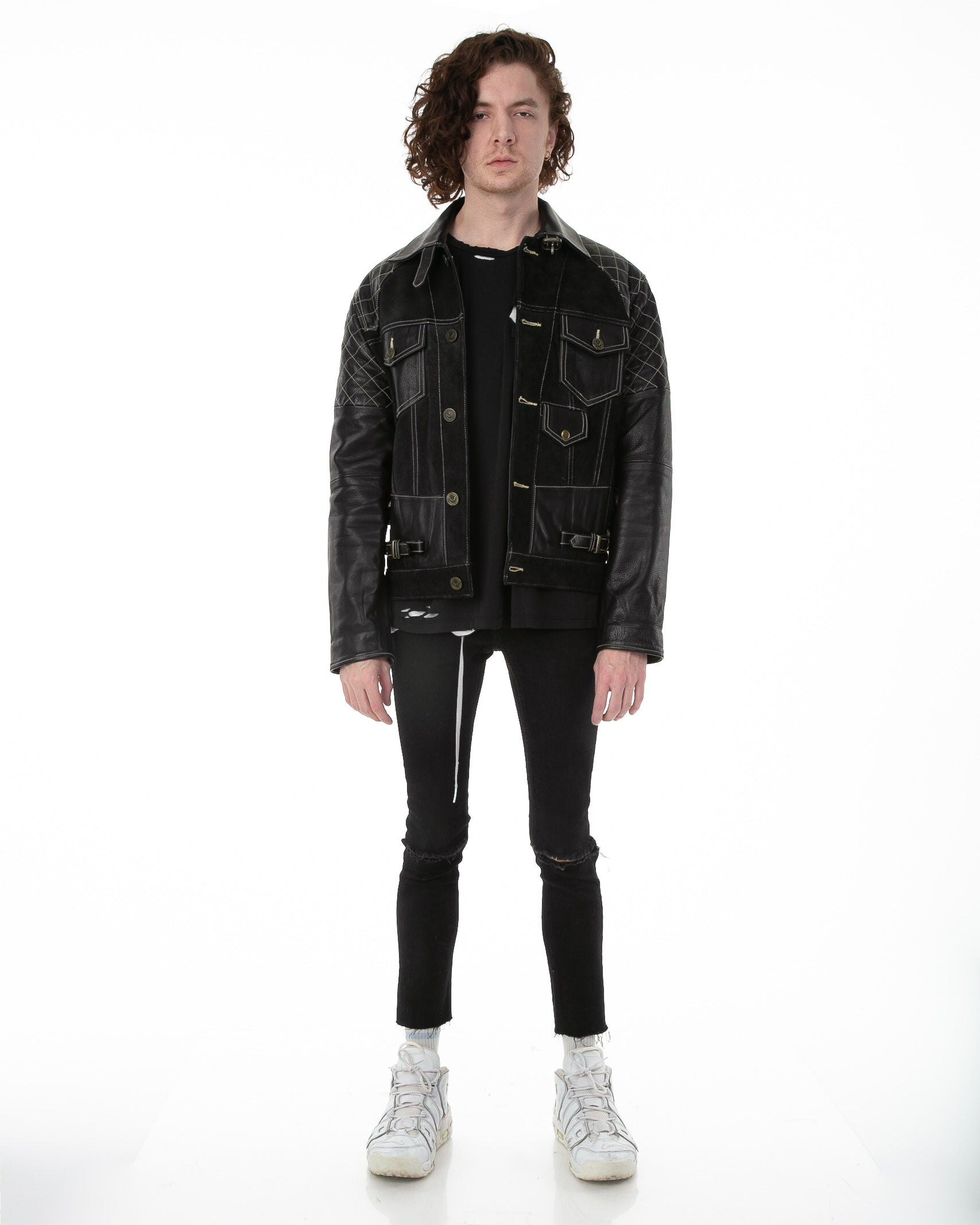 Front of male model wearing Emperor leather jacket