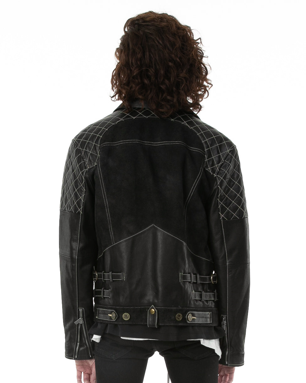 Backside of male model wearing Emperor leather jacket