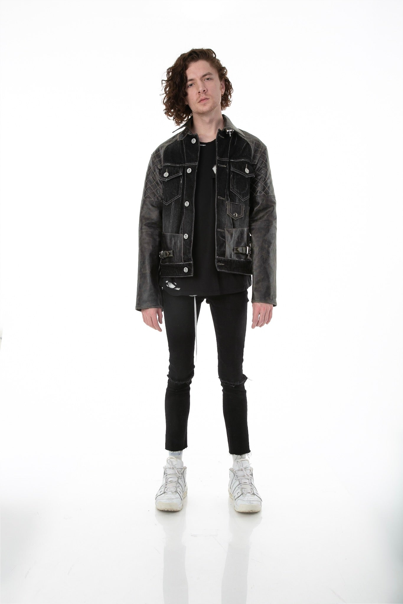 Front of male model wearing Mixed Rocker leather jacket
