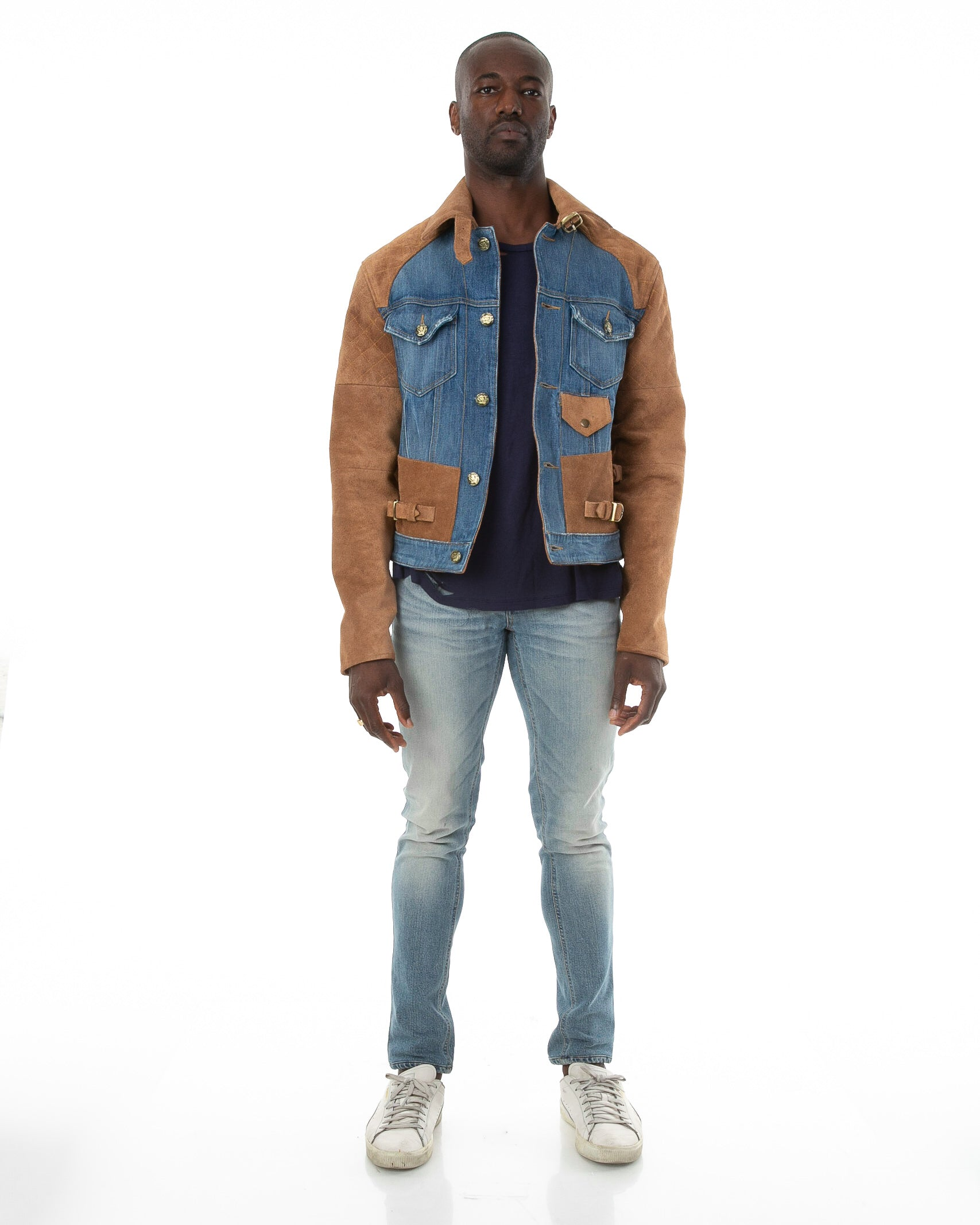 Front of male model wearing 18k suede jacket