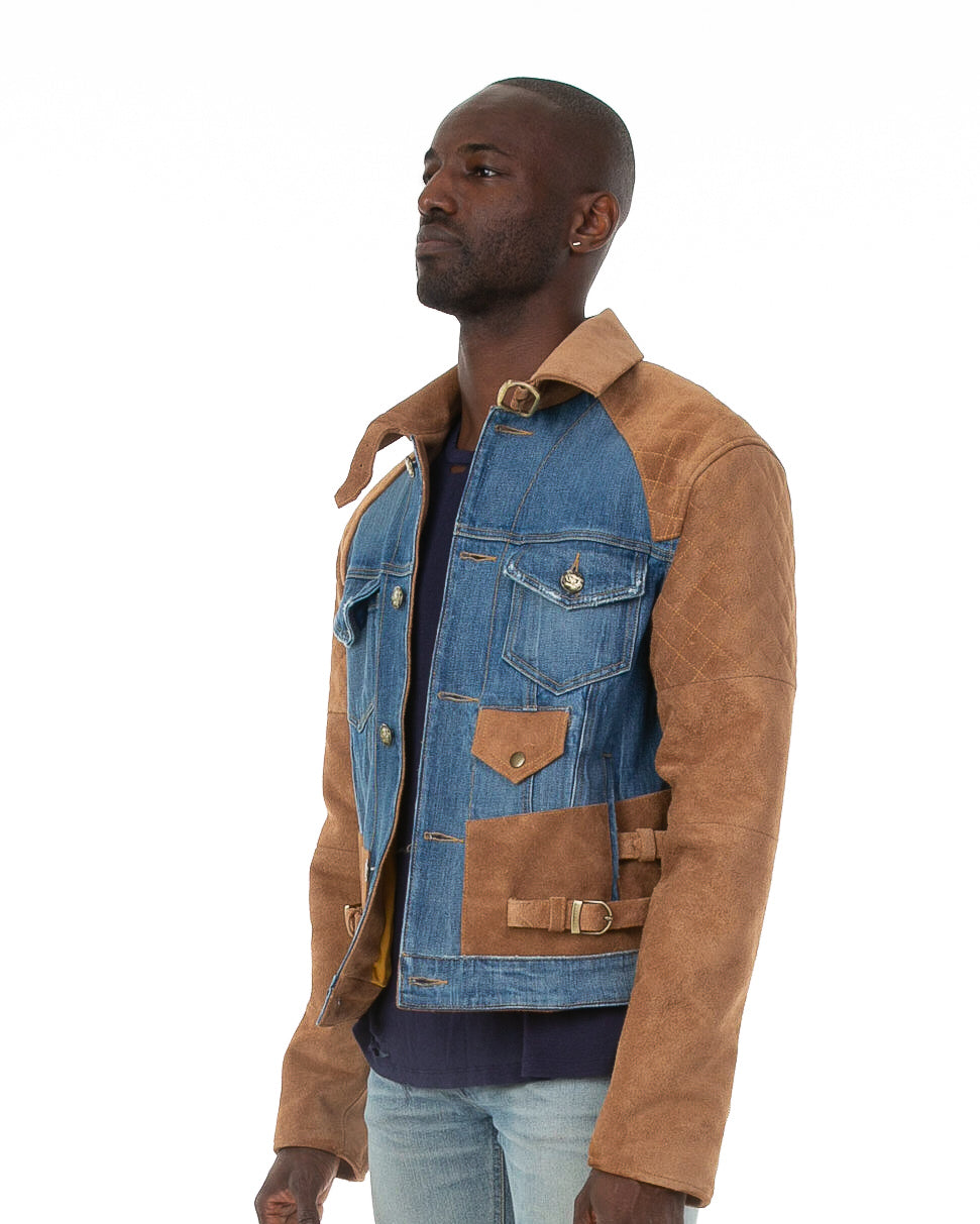 Side of male model wearing 18k suede jacket