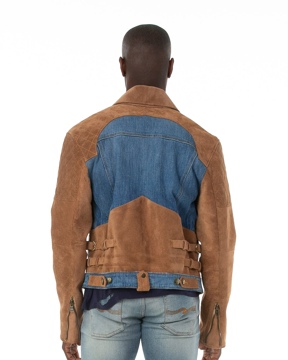 Back of male model wearing 18k suede jacket