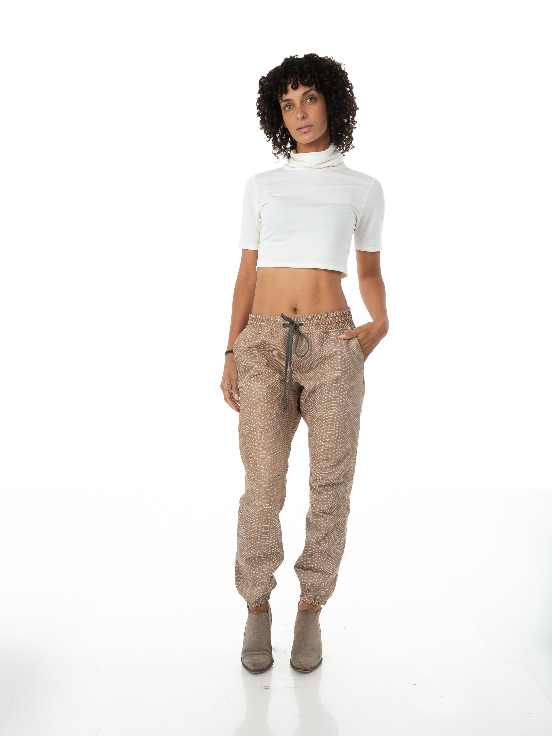 Front of female model wearing Snakeskin Jogger in Tan