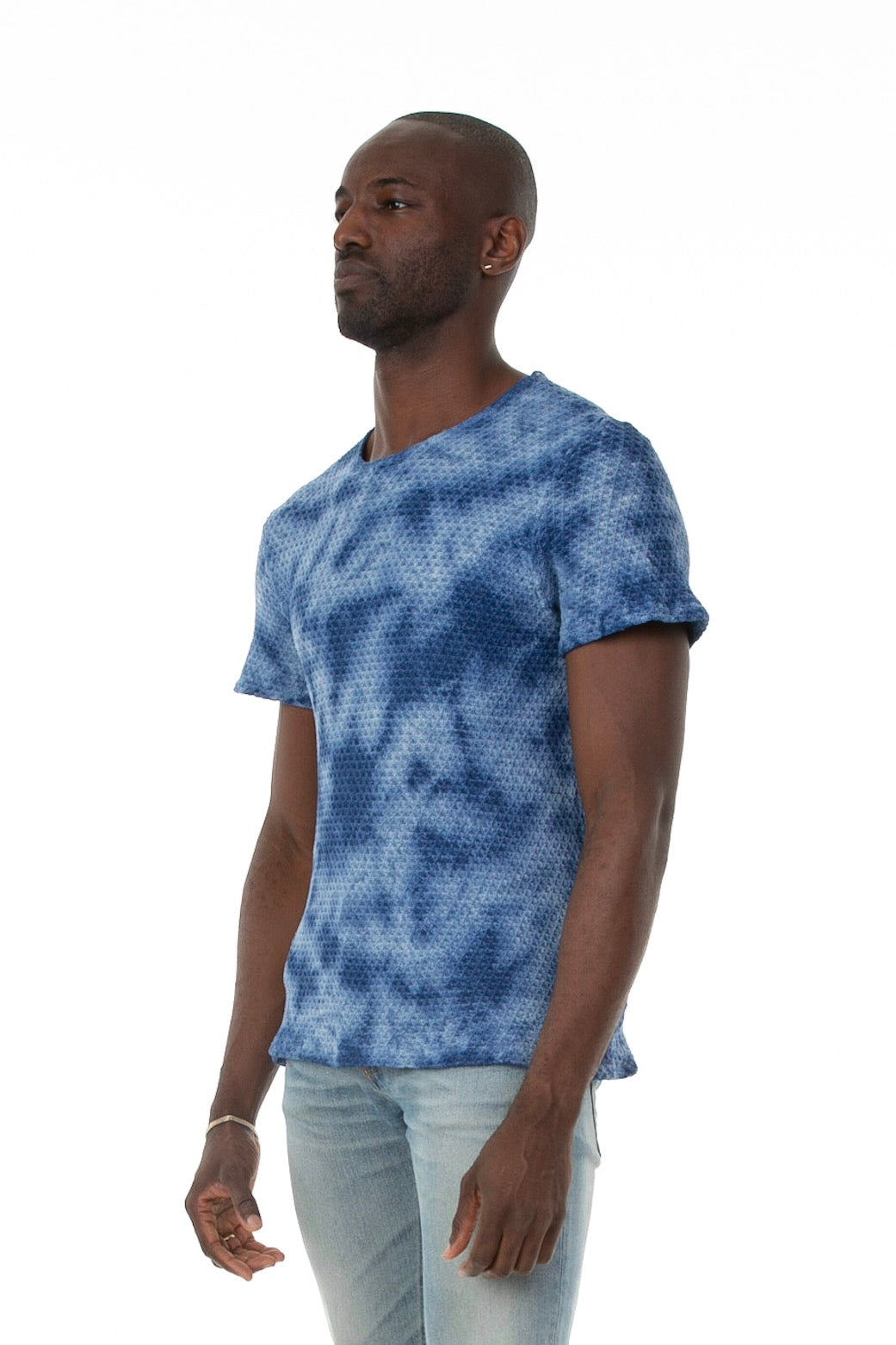 Pointelle Tee in Washed Blue