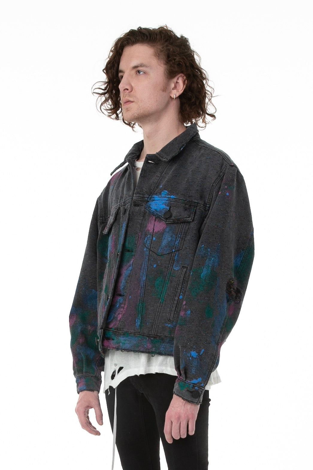 Side of Male Model Wearing Artists' Denim Jacket