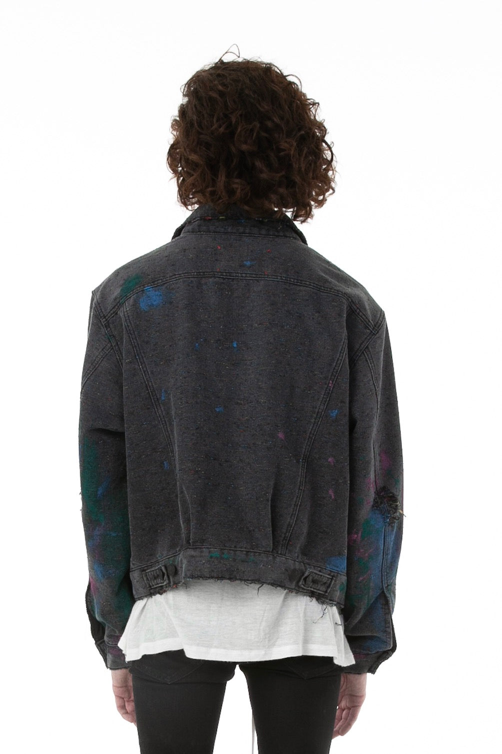 Back of Male Model Wearing Artists' Denim Jacket