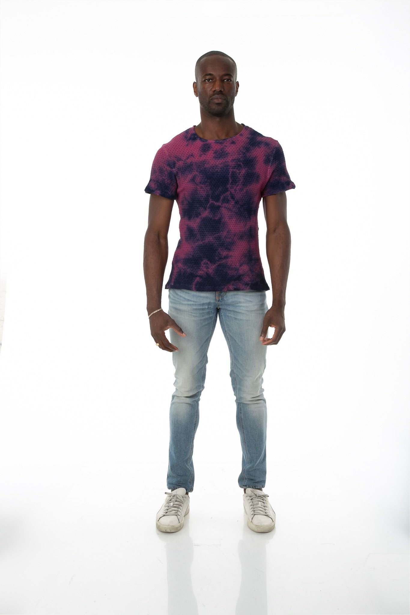 Front of male model wearing Pointelle Tee in Washed Violet