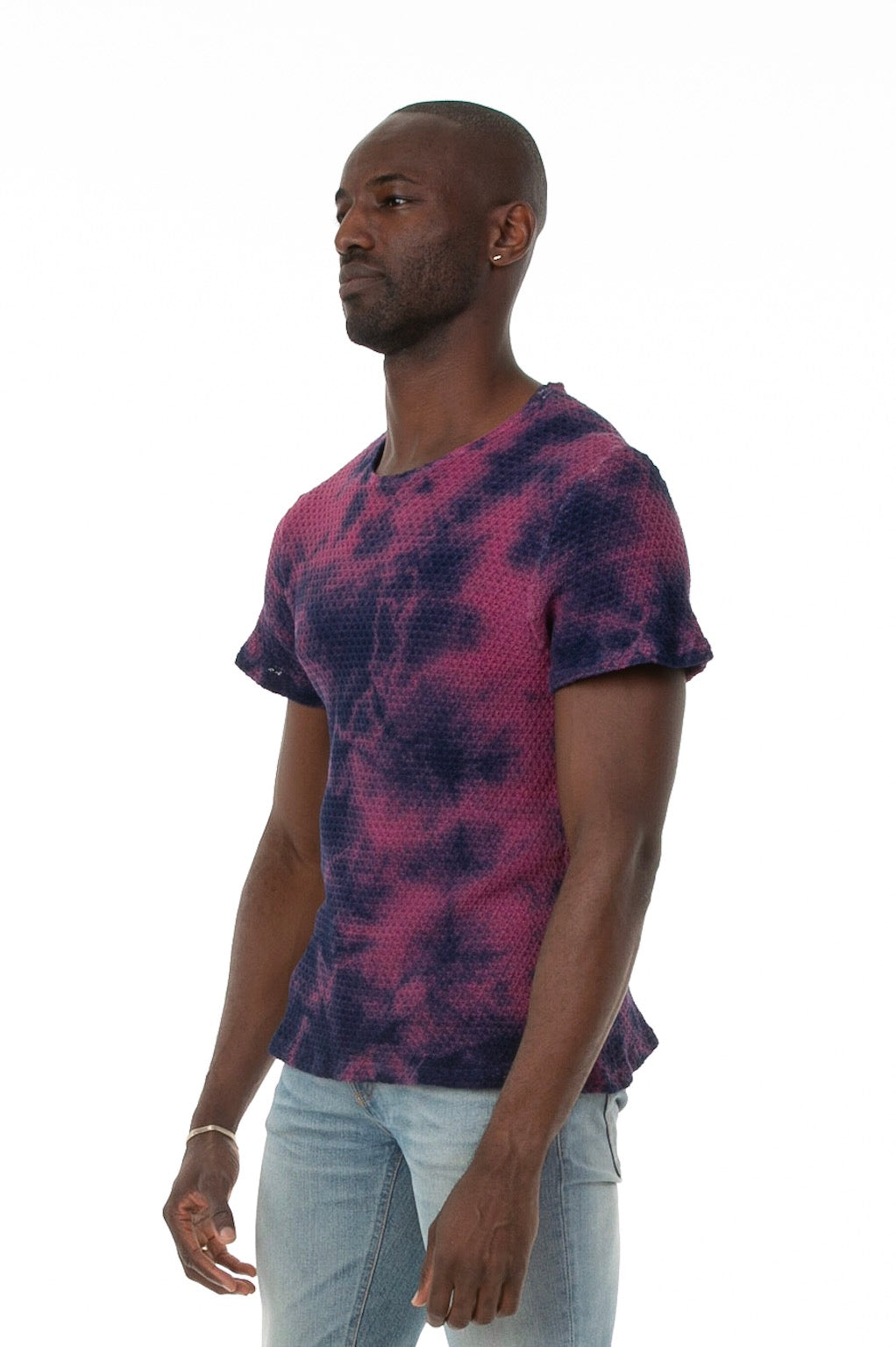 Side of male model wearing Pointelle Tee in Washed Violet