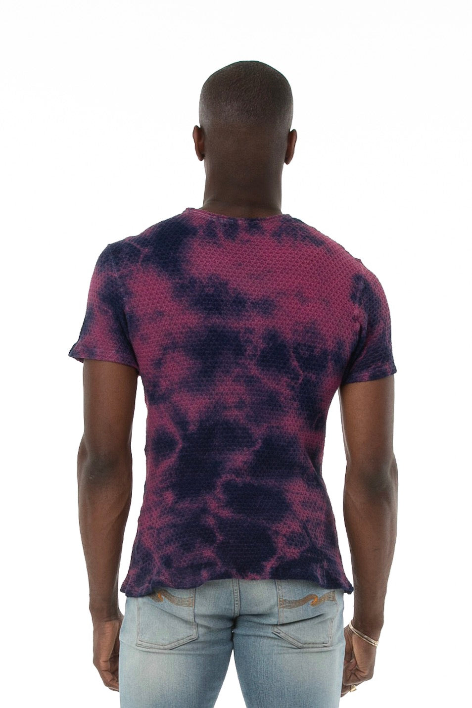 Backside of male model wearing Pointelle Tee in Washed Violet