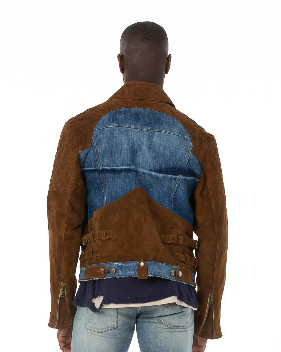 Back of male model wearing The Rider denim jacket