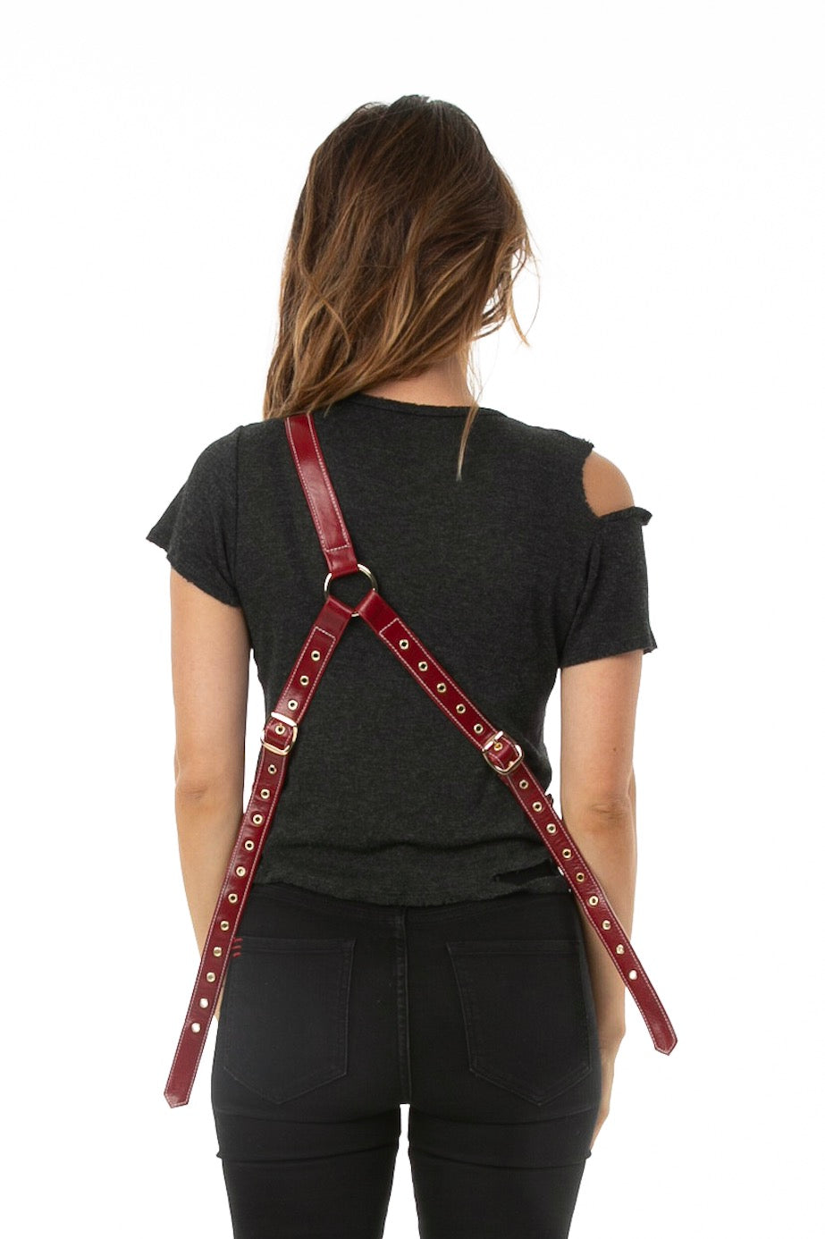Backside of female model wearing Holster Bag in Red