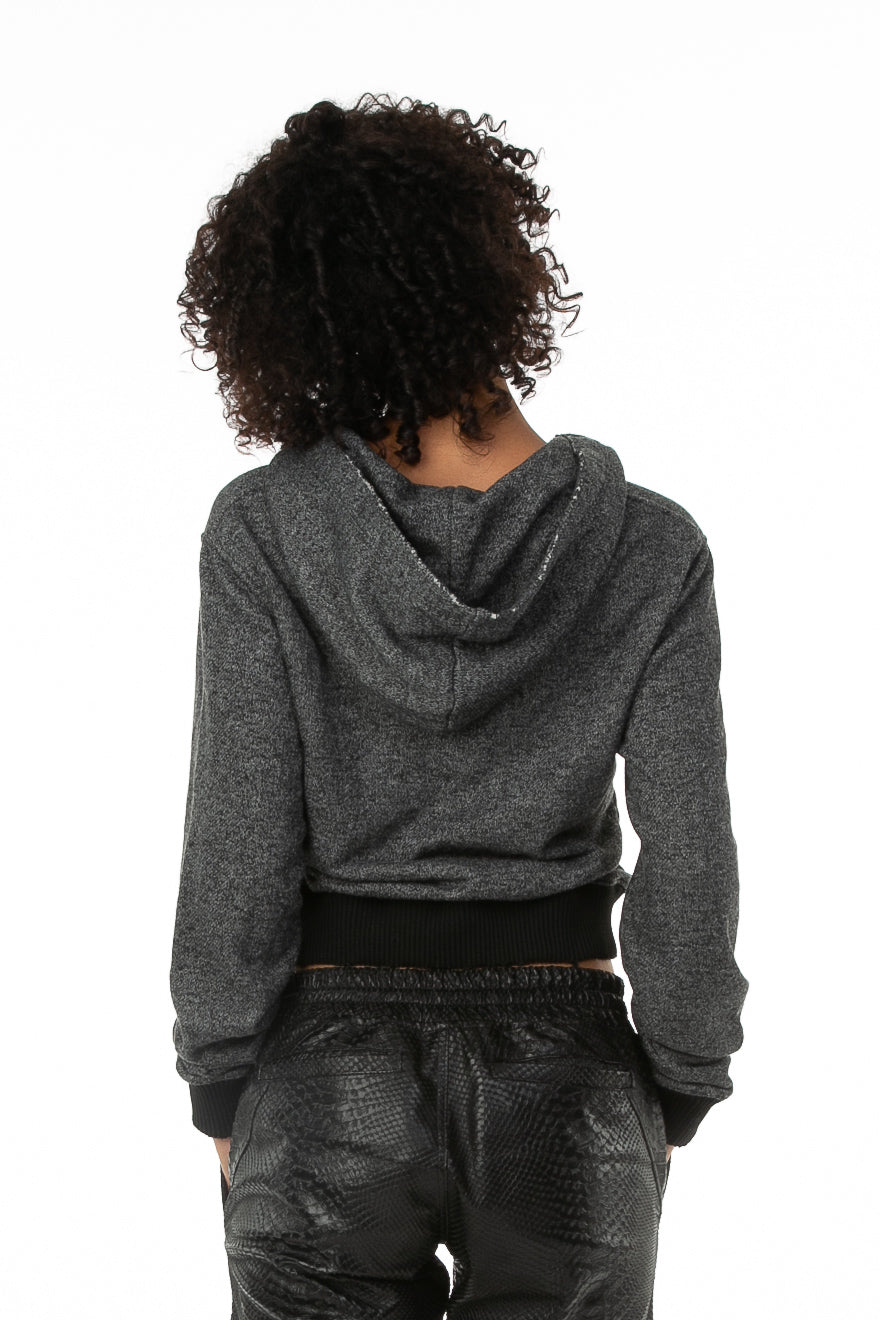 Backside of female model wearing Cropped Hoodie in Black