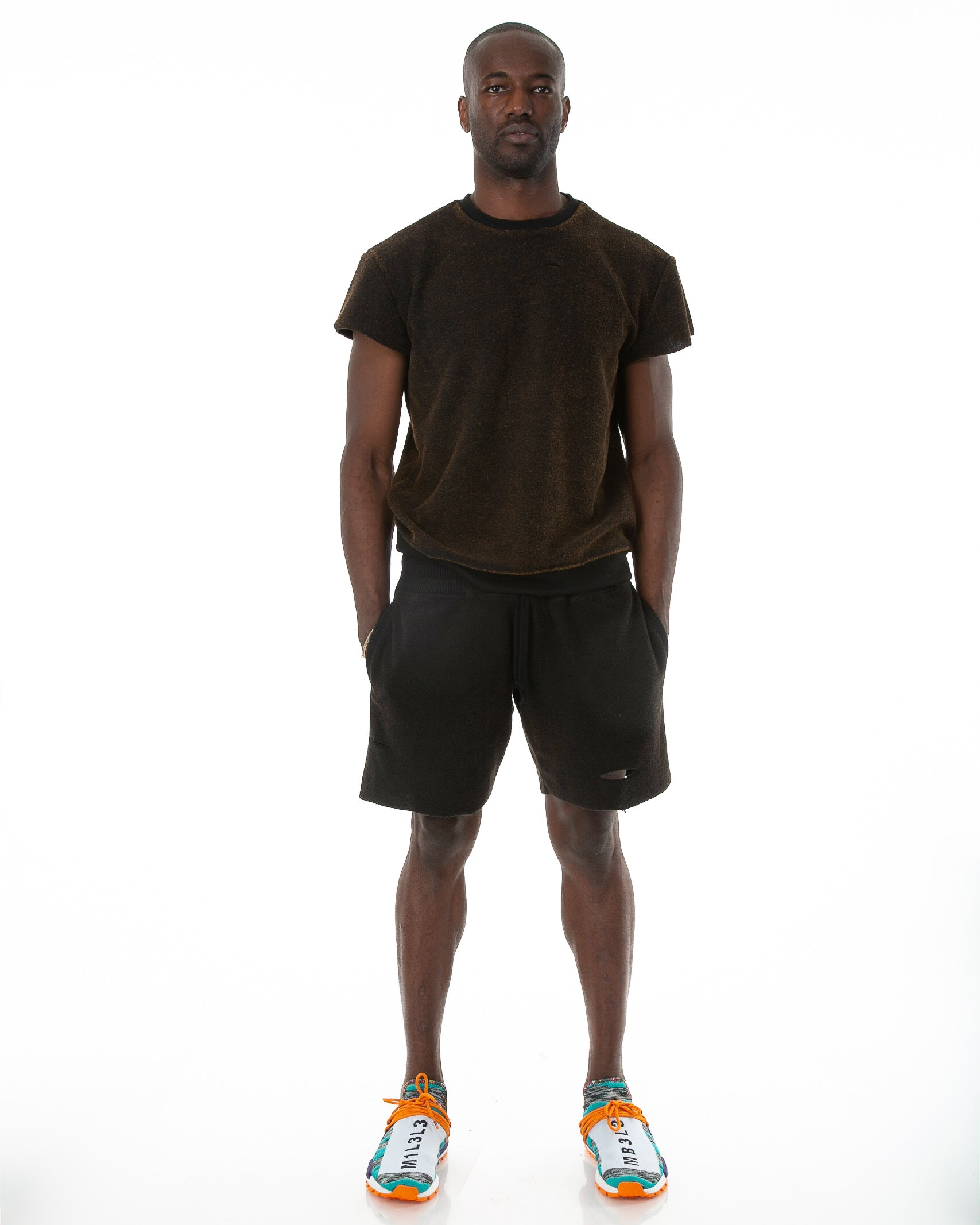 Front of male model wearing Terry Cutoff in Black