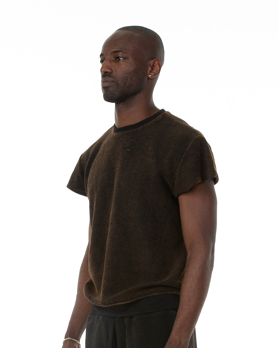 Side of male model wearing Terry Cutoff in Black