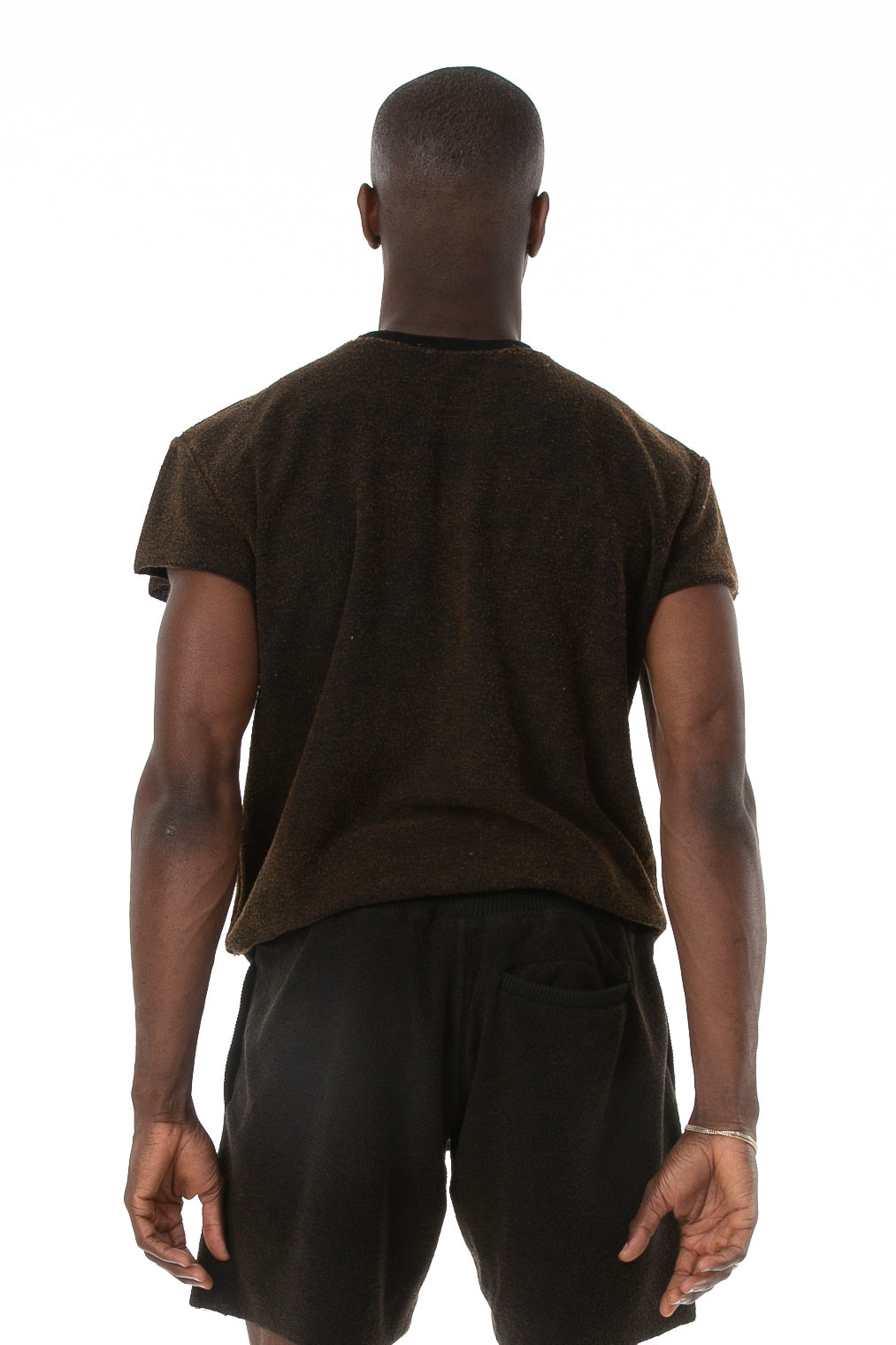 Back of male model wearing Terry Cutoff in Black
