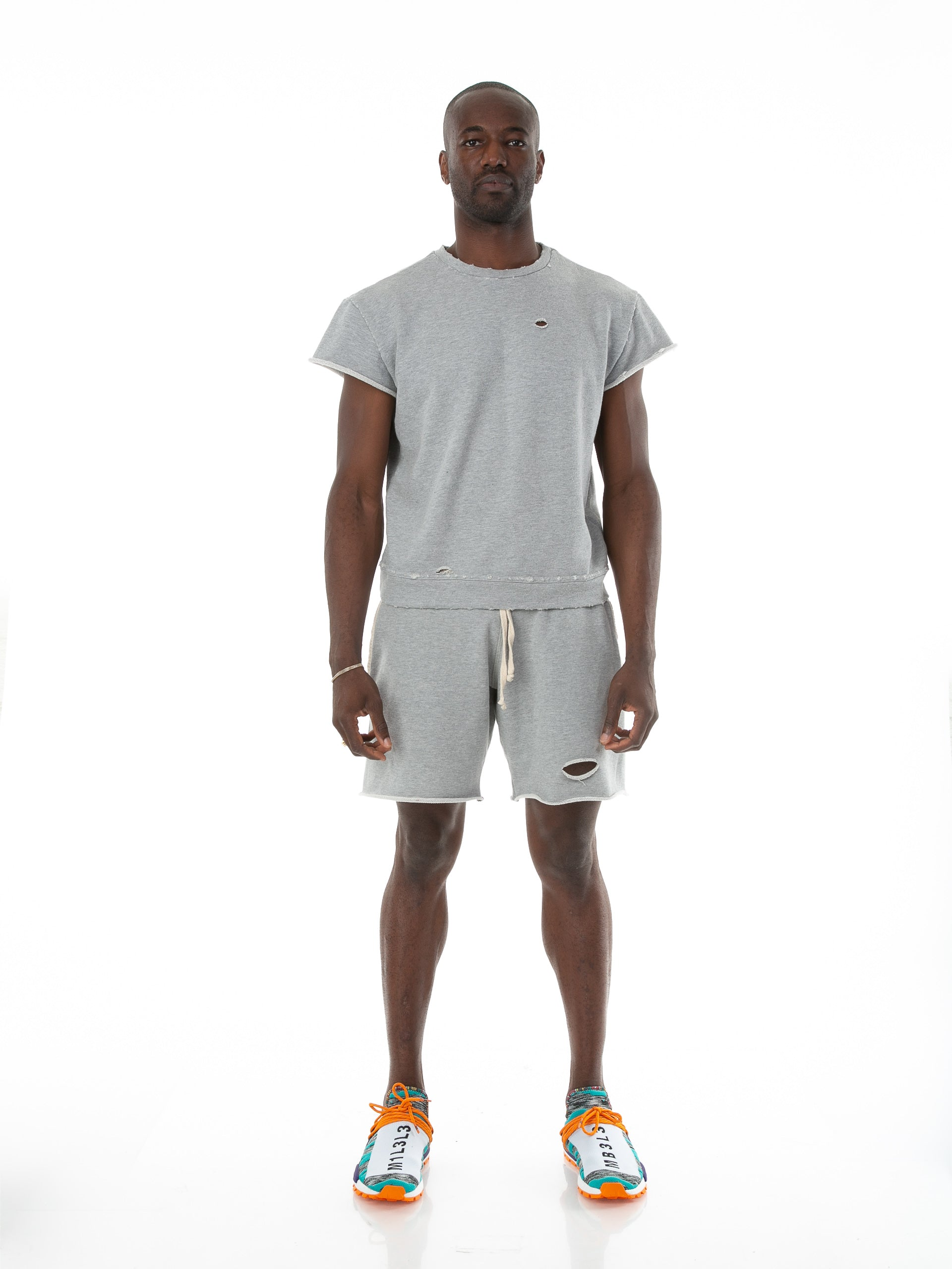 Front of male model wearing Terry Cutoff in Heather Grey