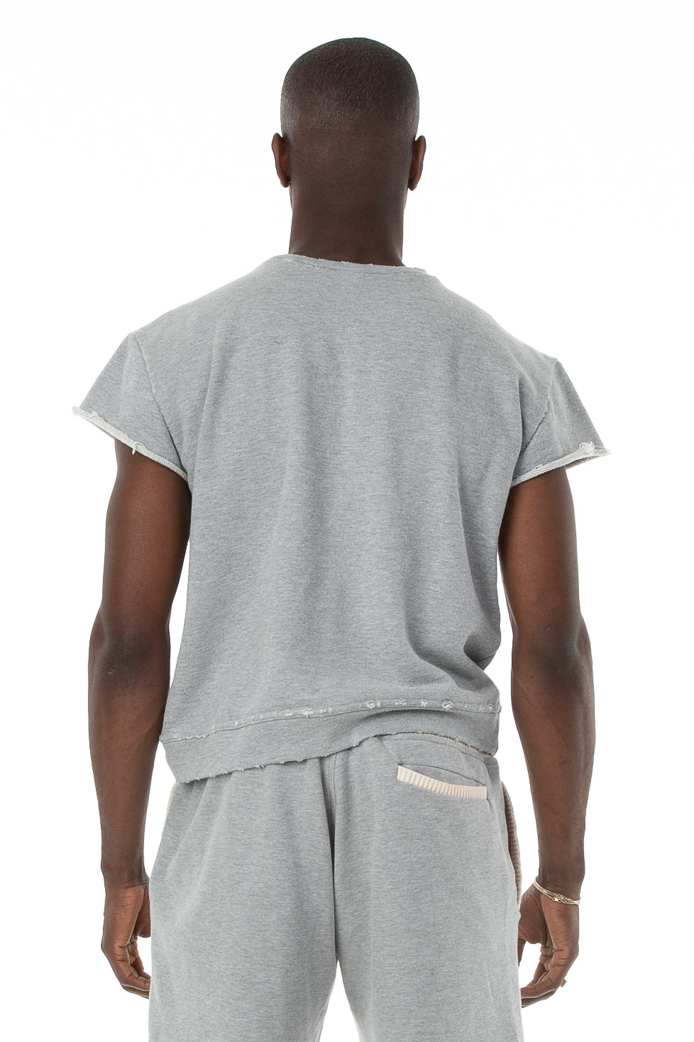 Backside of male model wearing Terry Cutoff in Heather Grey