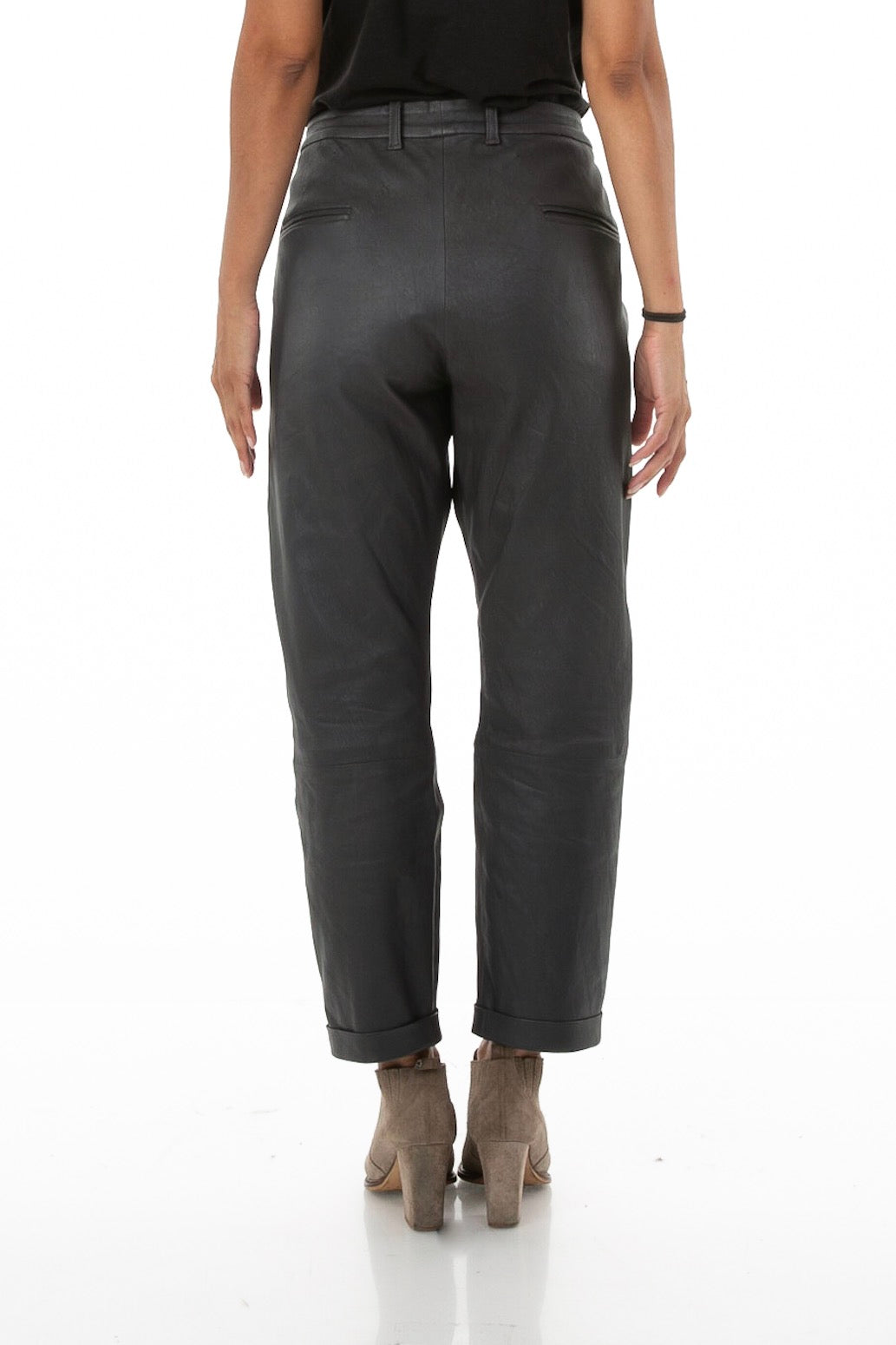 Cuffed Leather Pant in Charcoal