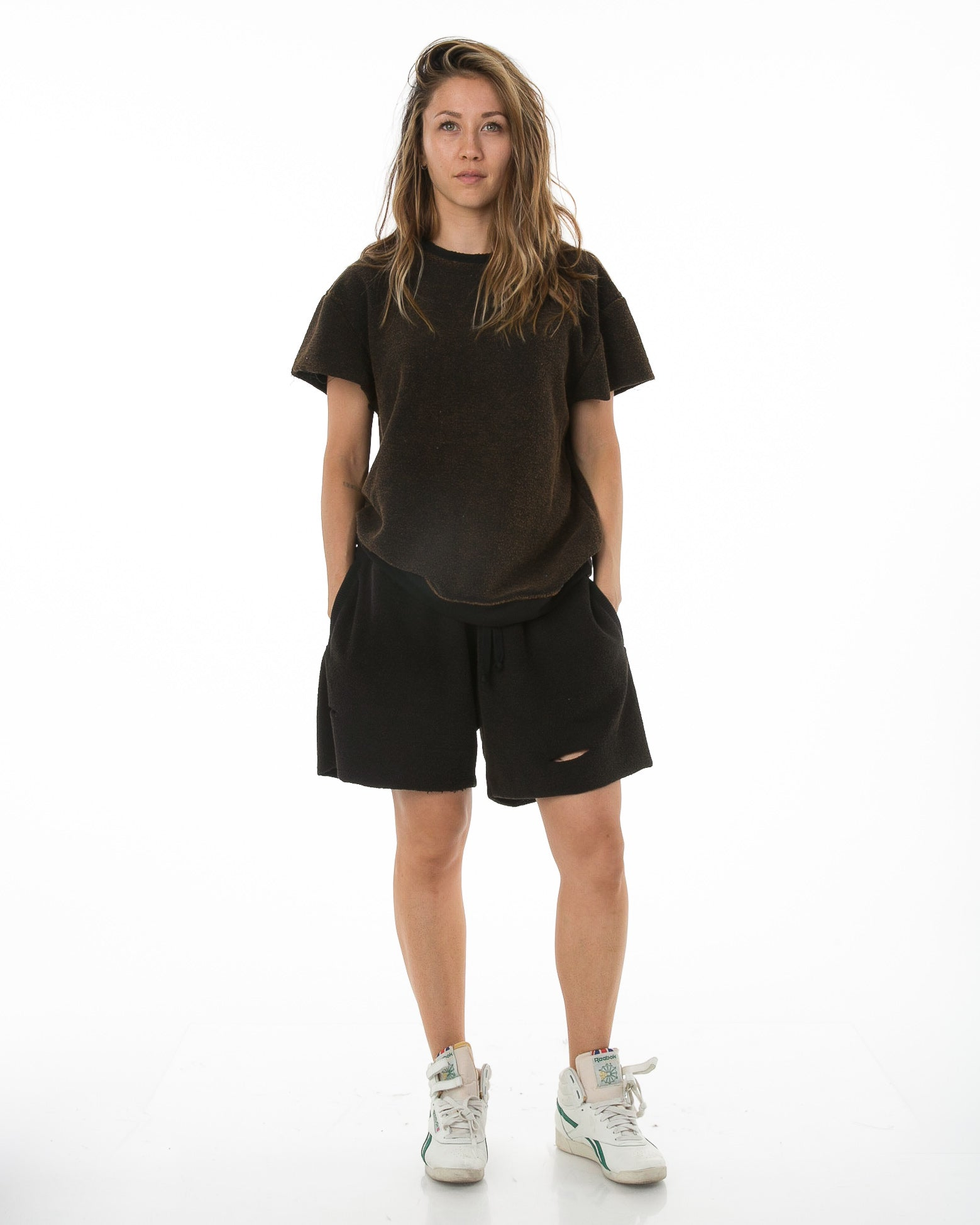 Front of female model wearing Terry Cutoff in Black