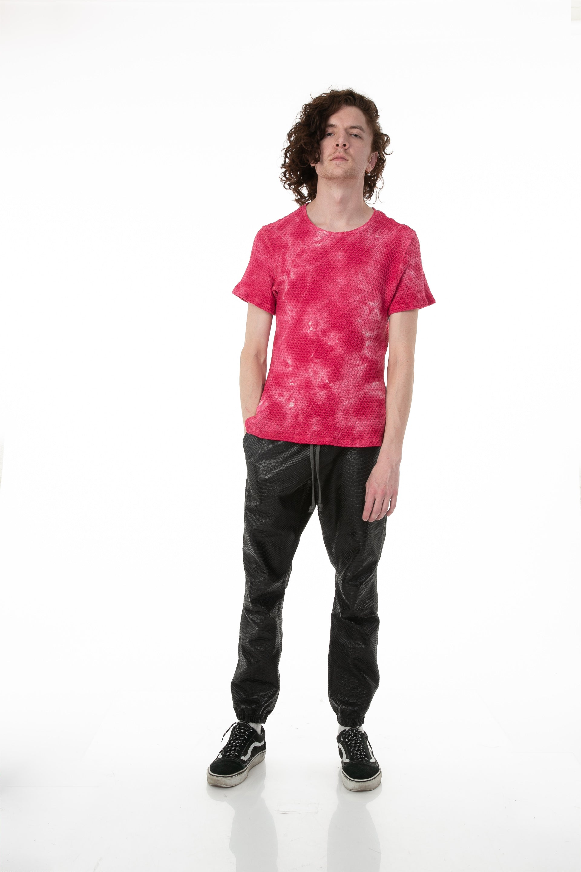 Front of male model wearing Pointelle Tee in Washed Pink