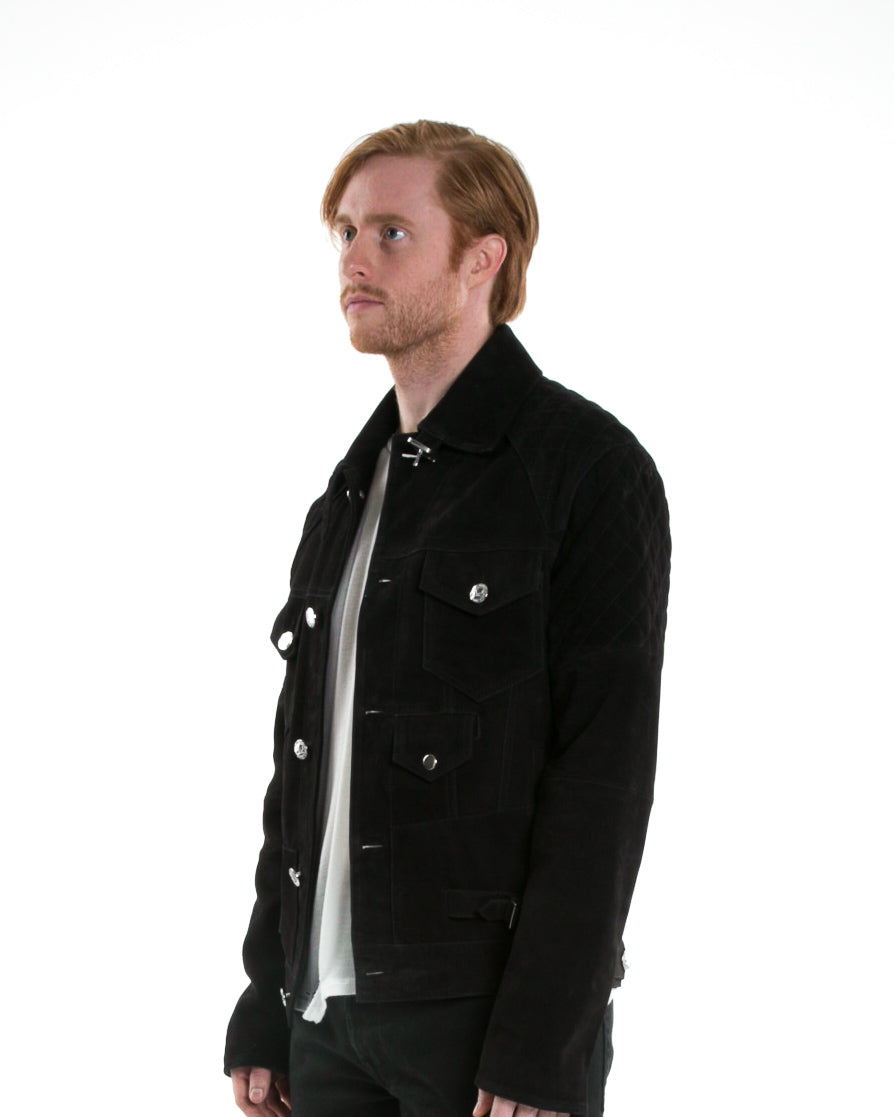 Side of male model wearing Onyx Leather jacket