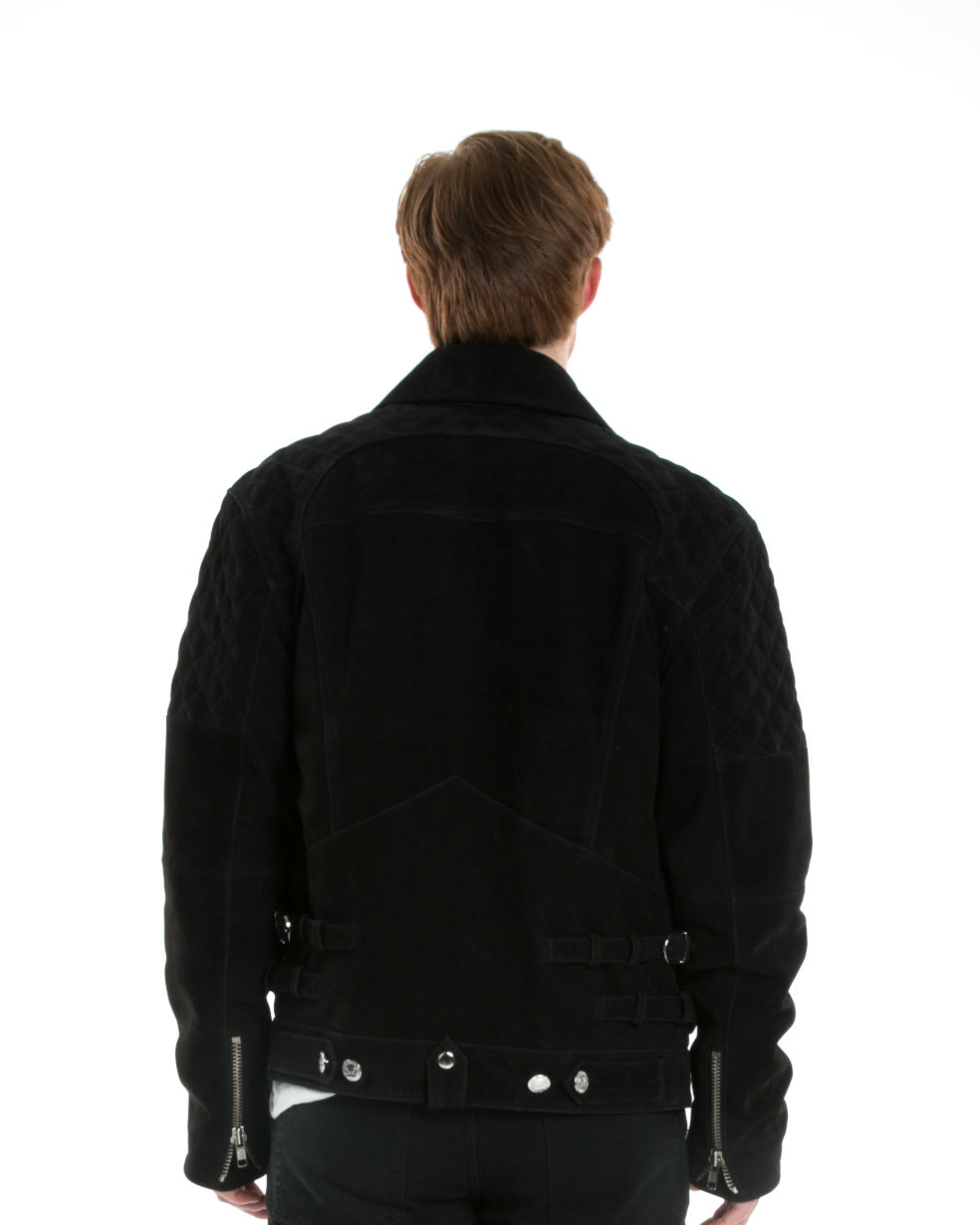 Back of male model wearing Onyx Leather jacket