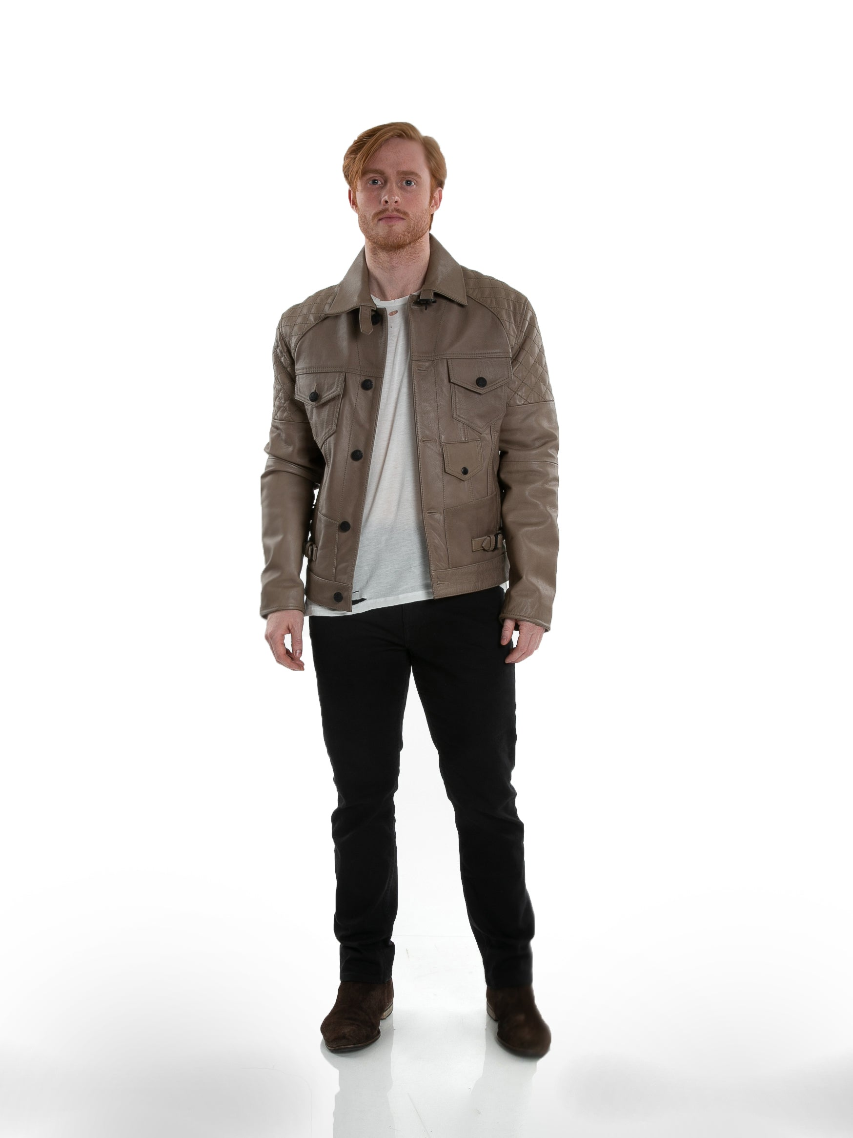 Front of male model wearing Grindstone leather jacket