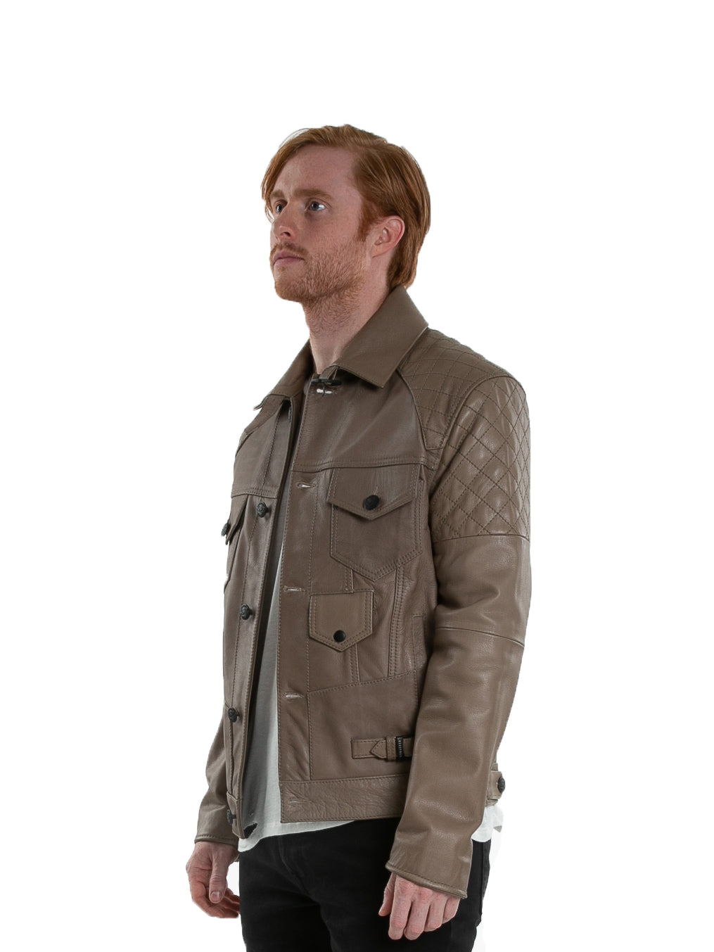 Side of male model wearing Grindstone leather jacket