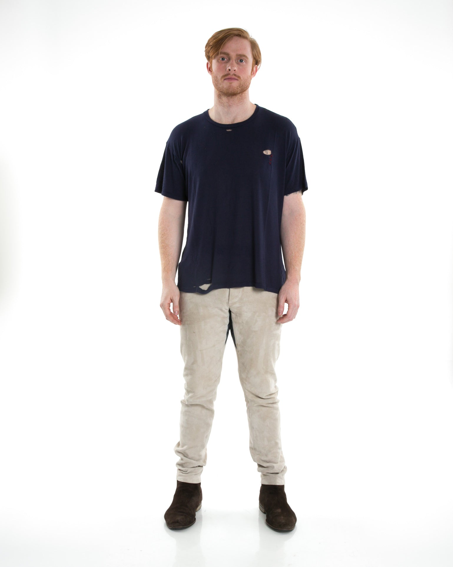 Front of male model wearing Hand-stitched Tee in Navy