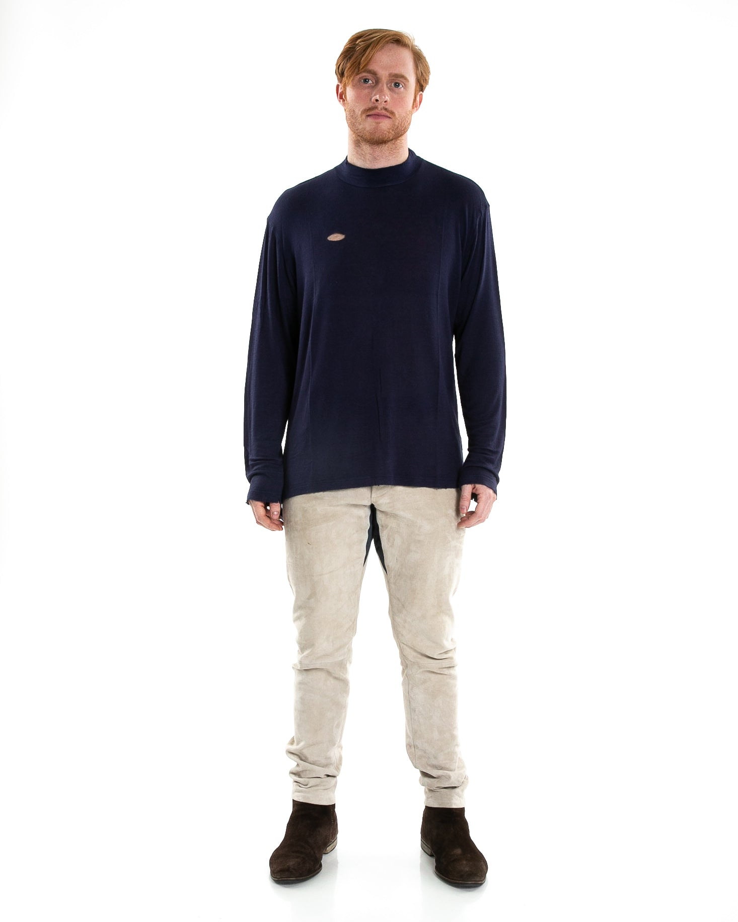 Front of male model wearing of Merchant Long Sleeve in Navy