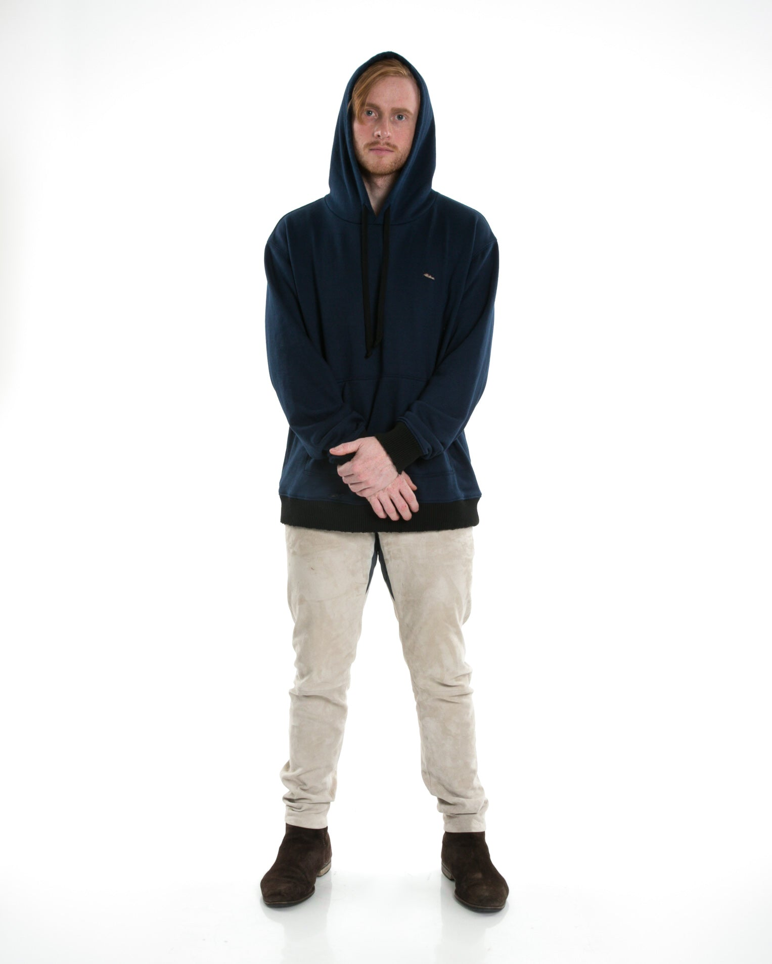 Front of male model wearing Weighted Hoodie in Navy
