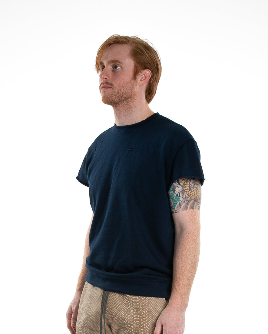 Side of male model wearing Terry Cutoff in Navy