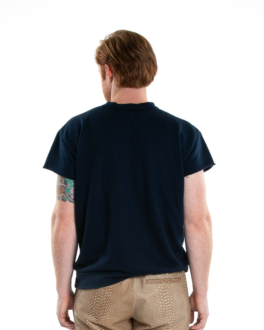 Backside of male model wearing Terry Cutoff in Navy