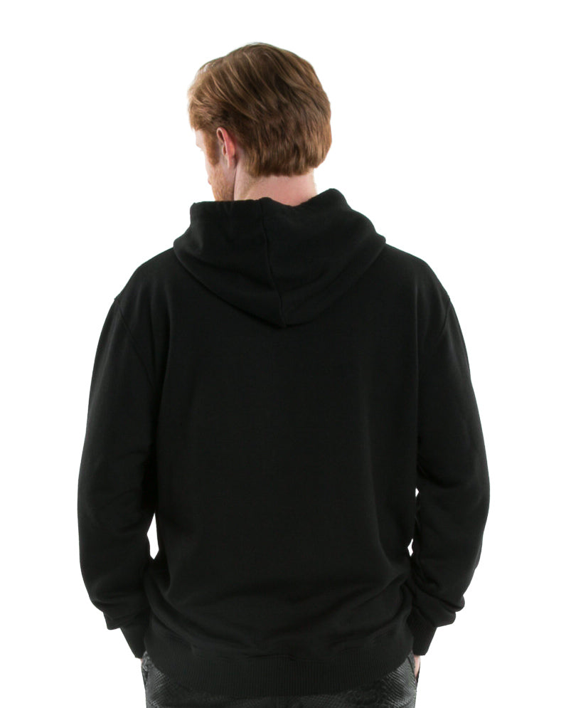 Backside of male model wearing Weighted Hoodie in Black