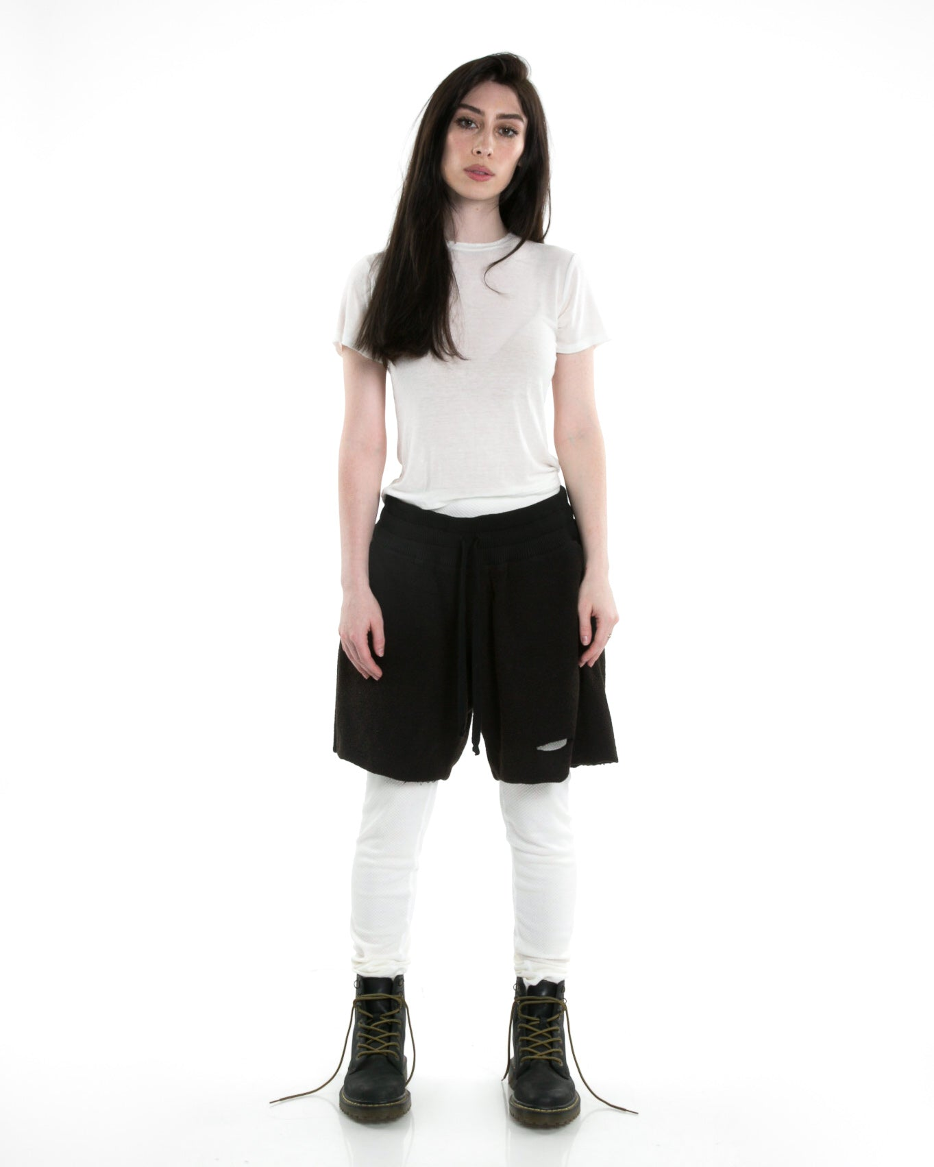 Front of female model wearing Boxy Tee in Ivory