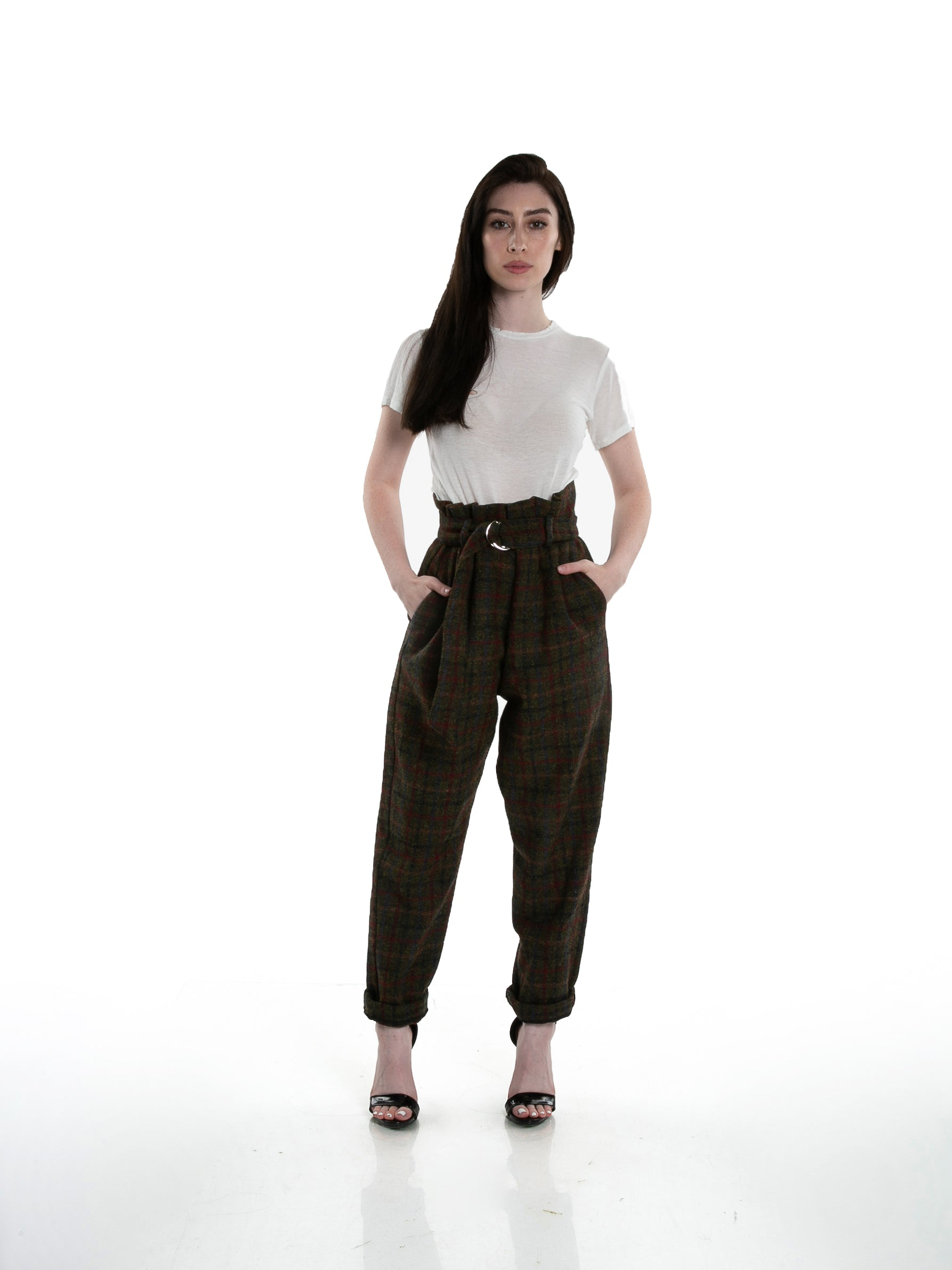 Full front of female model wearing Cinch Pant in Forest Plaid