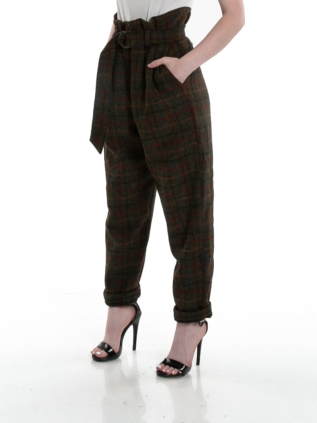Side of female model wearing Cinch Pant in Forest Plaid