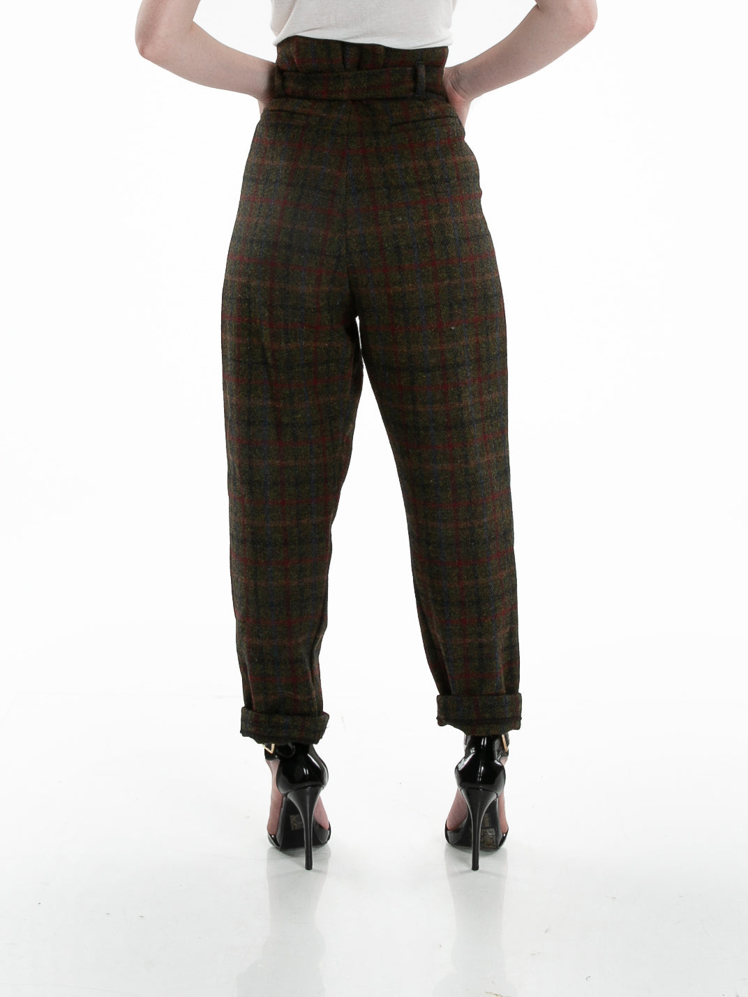 Front of female model wearing Cinch Pant in Forest Plaid