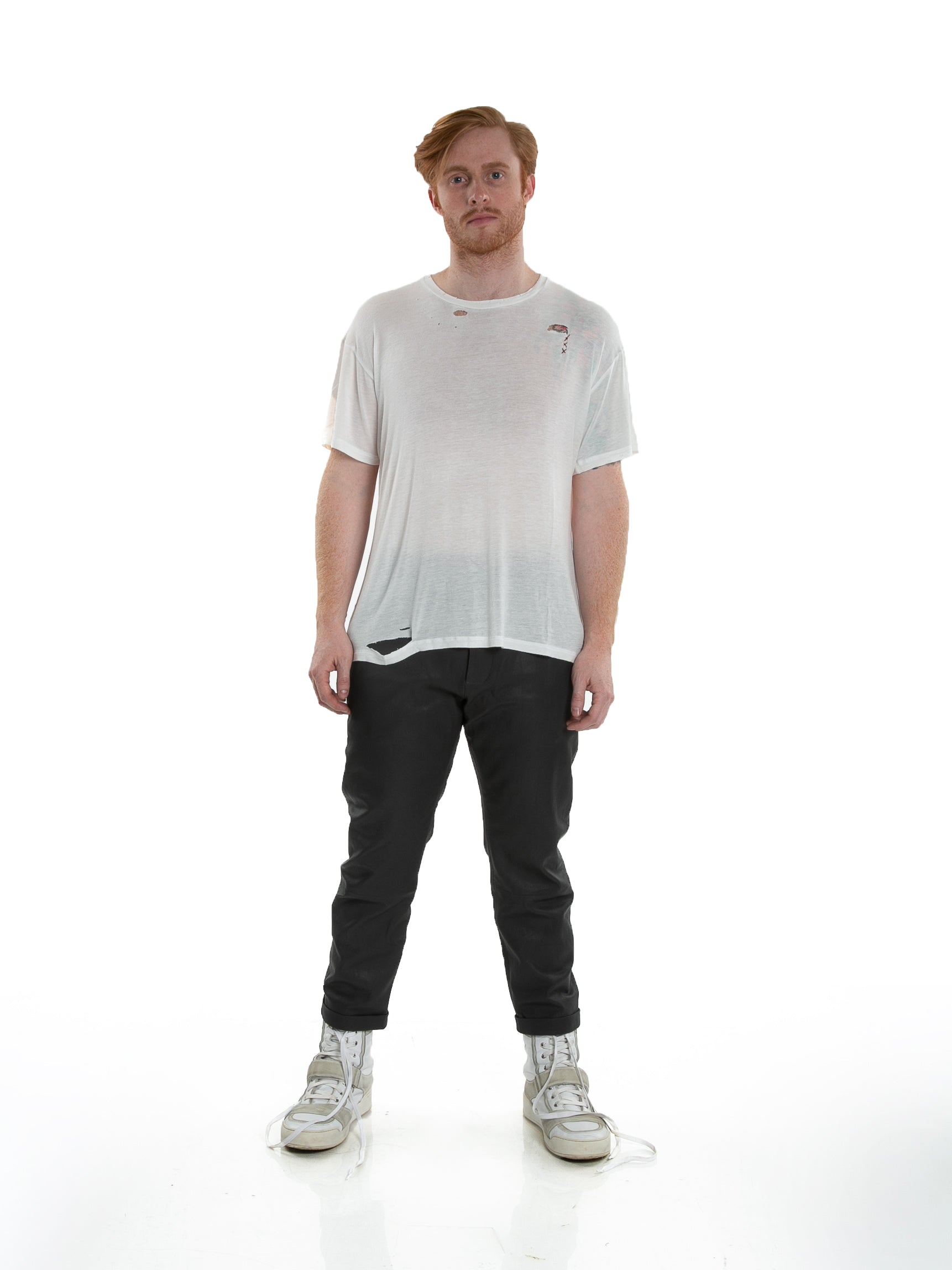 Front of male model wearing Hand-stitched Tee in Ivory