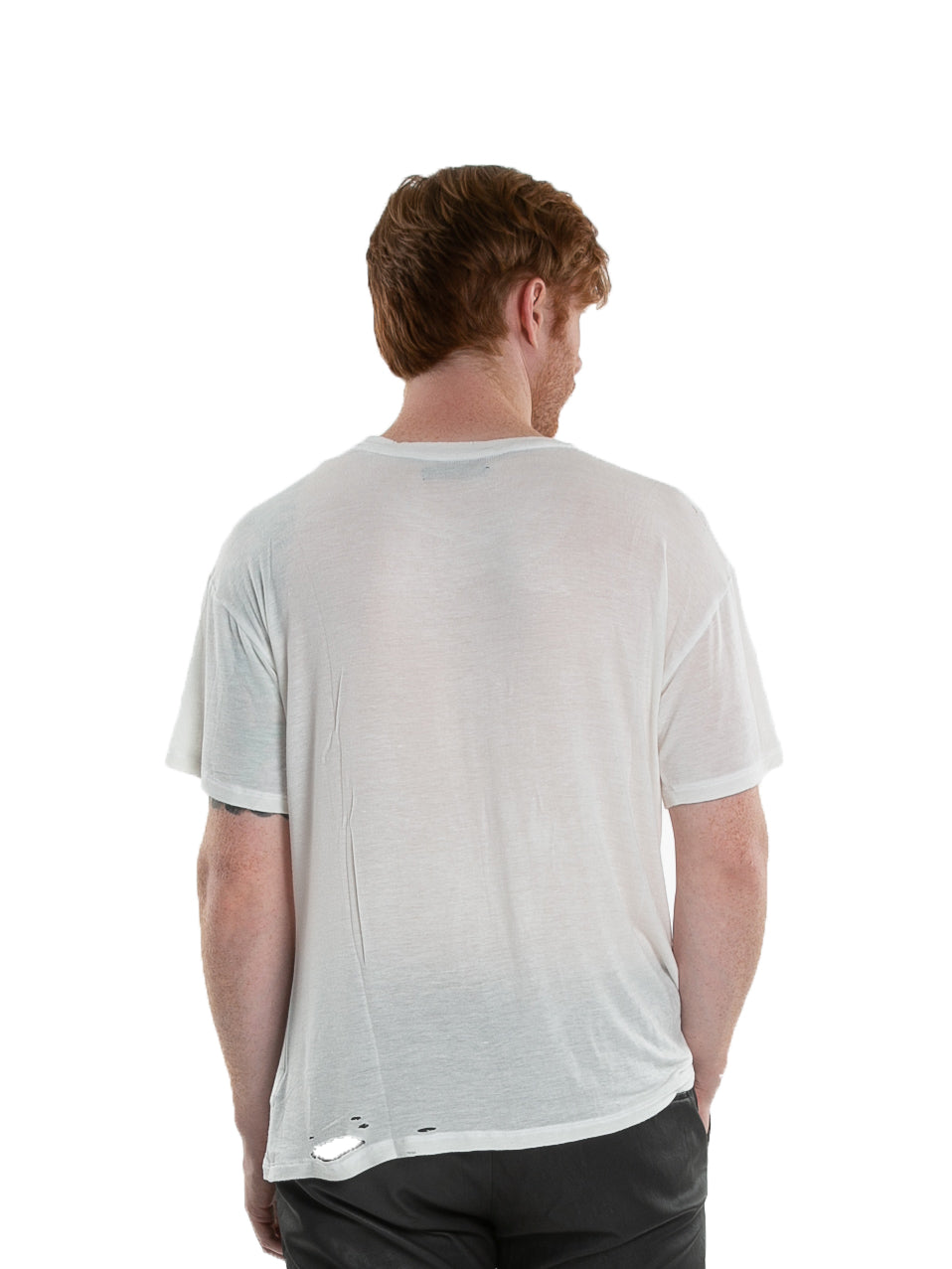 Backside of male model wearing Hand-stitched Tee in Ivory