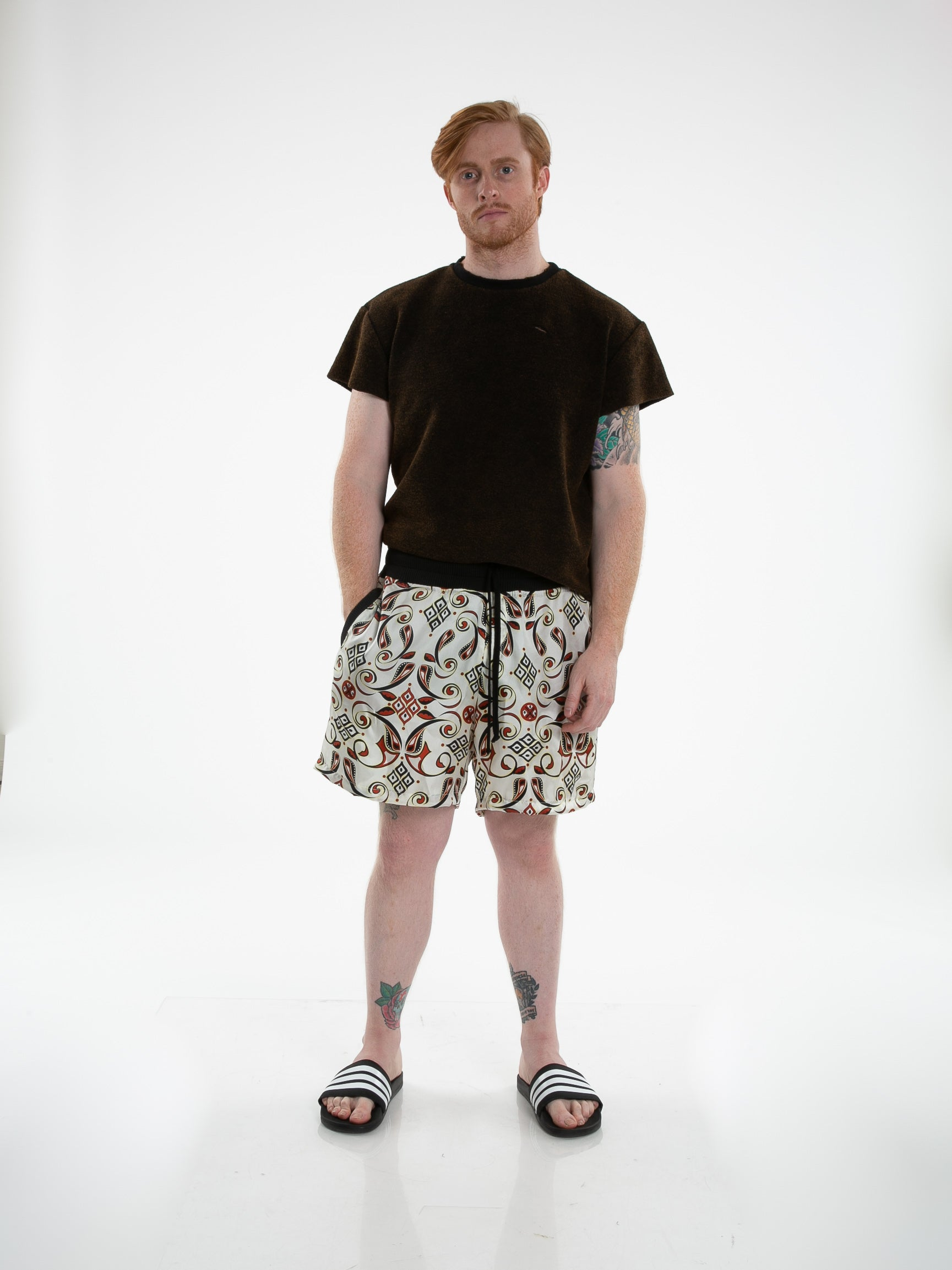Front of male model wearing Patterned Silk Short