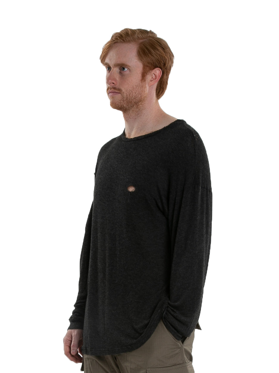 Side of male model wearing High Brow Long Sleeve in Charcoal