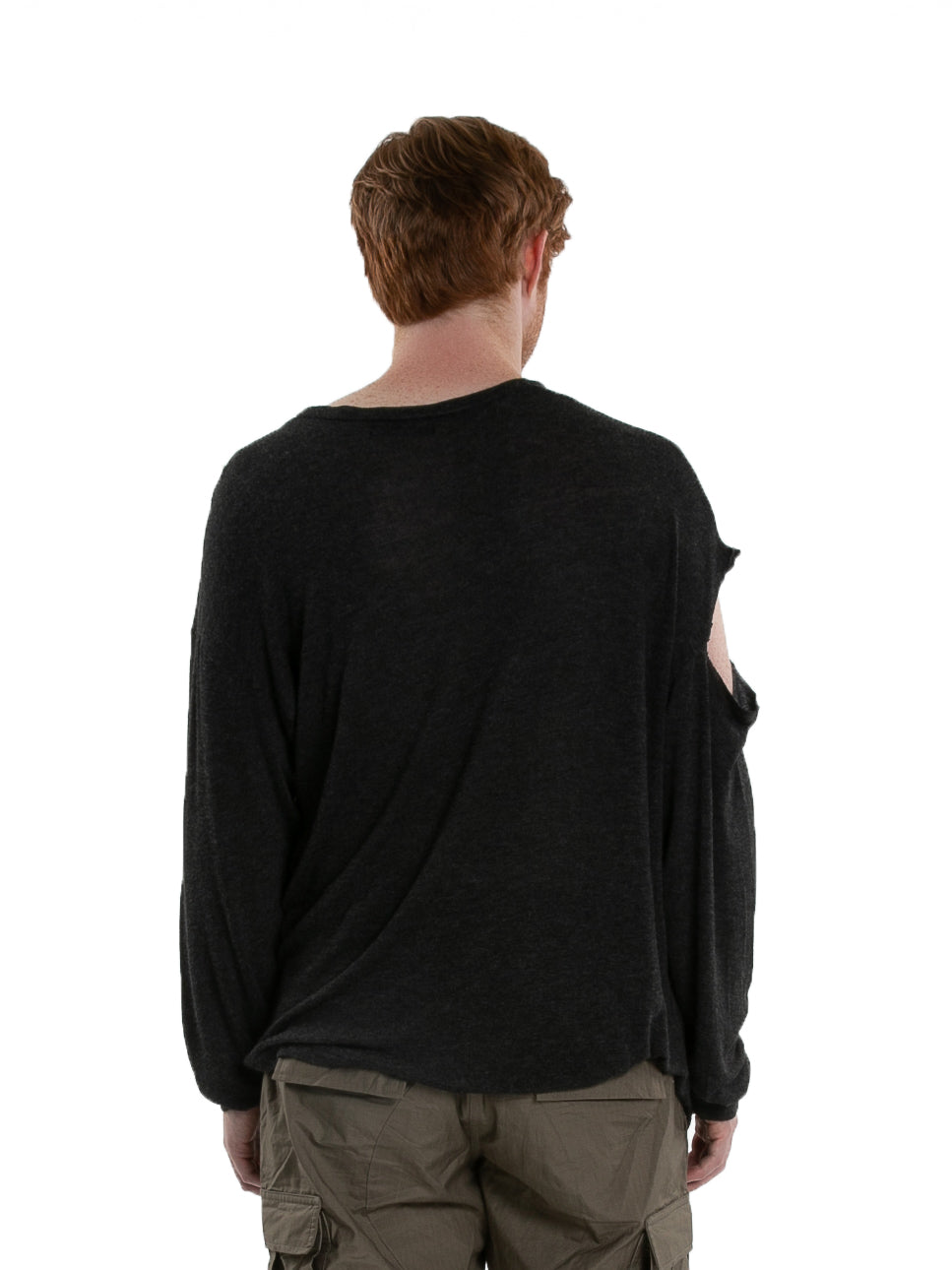 Backside of male model wearing High Brow Long Sleeve in Charcoal