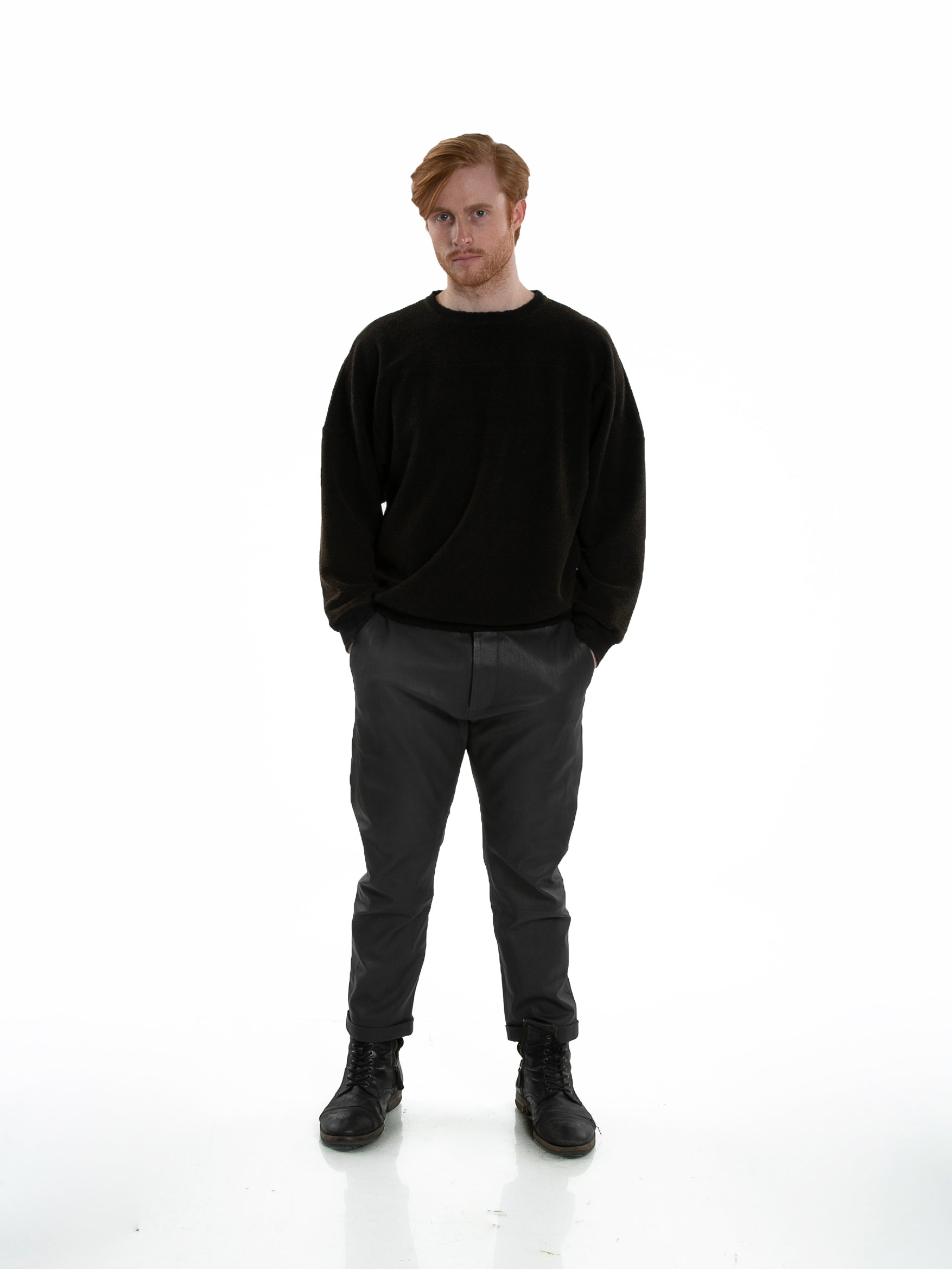 Front of male model wearing Heavy Crew Sweat in Black