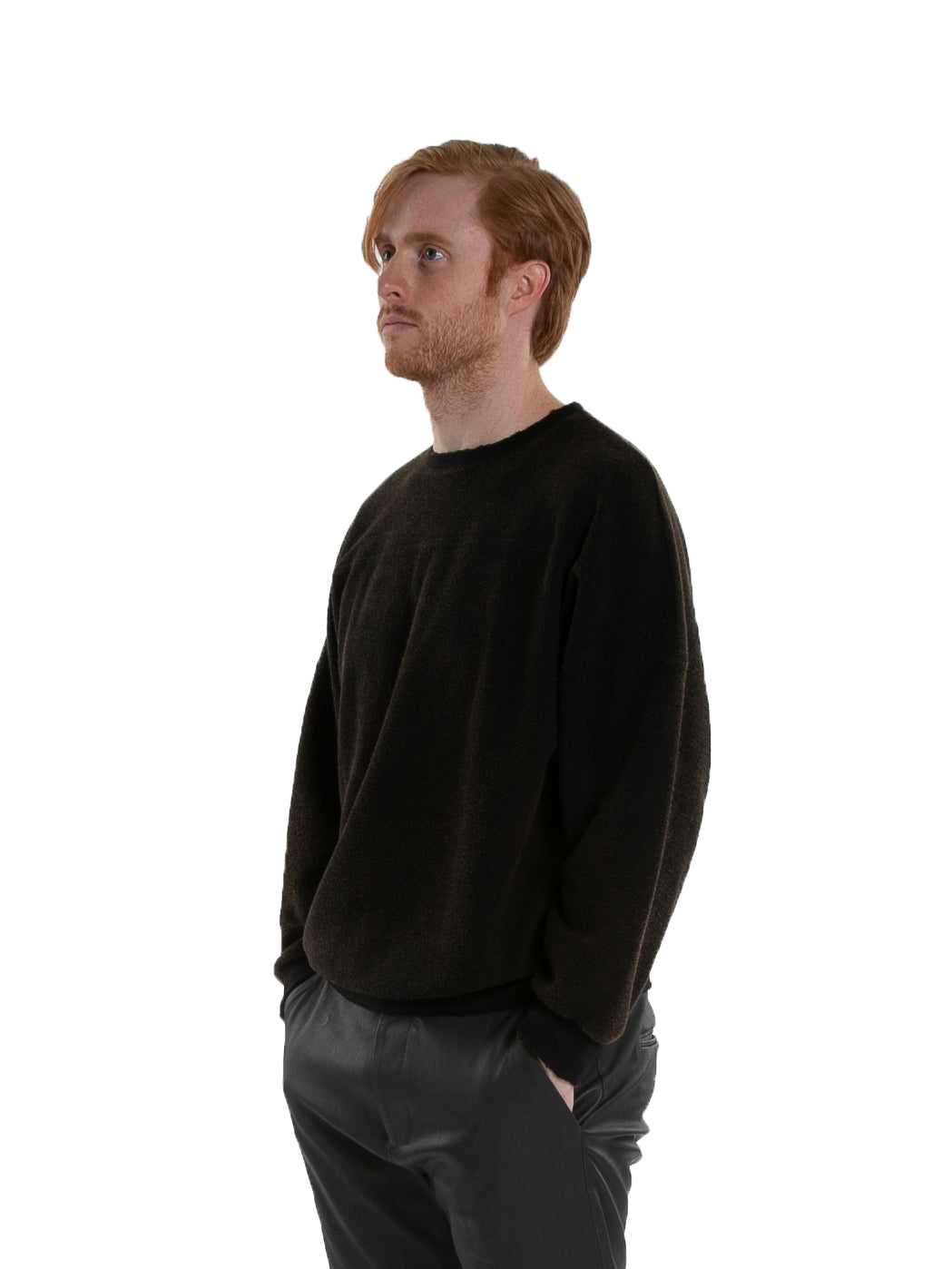 Side of male model wearing Heavy Crew Sweat in Black