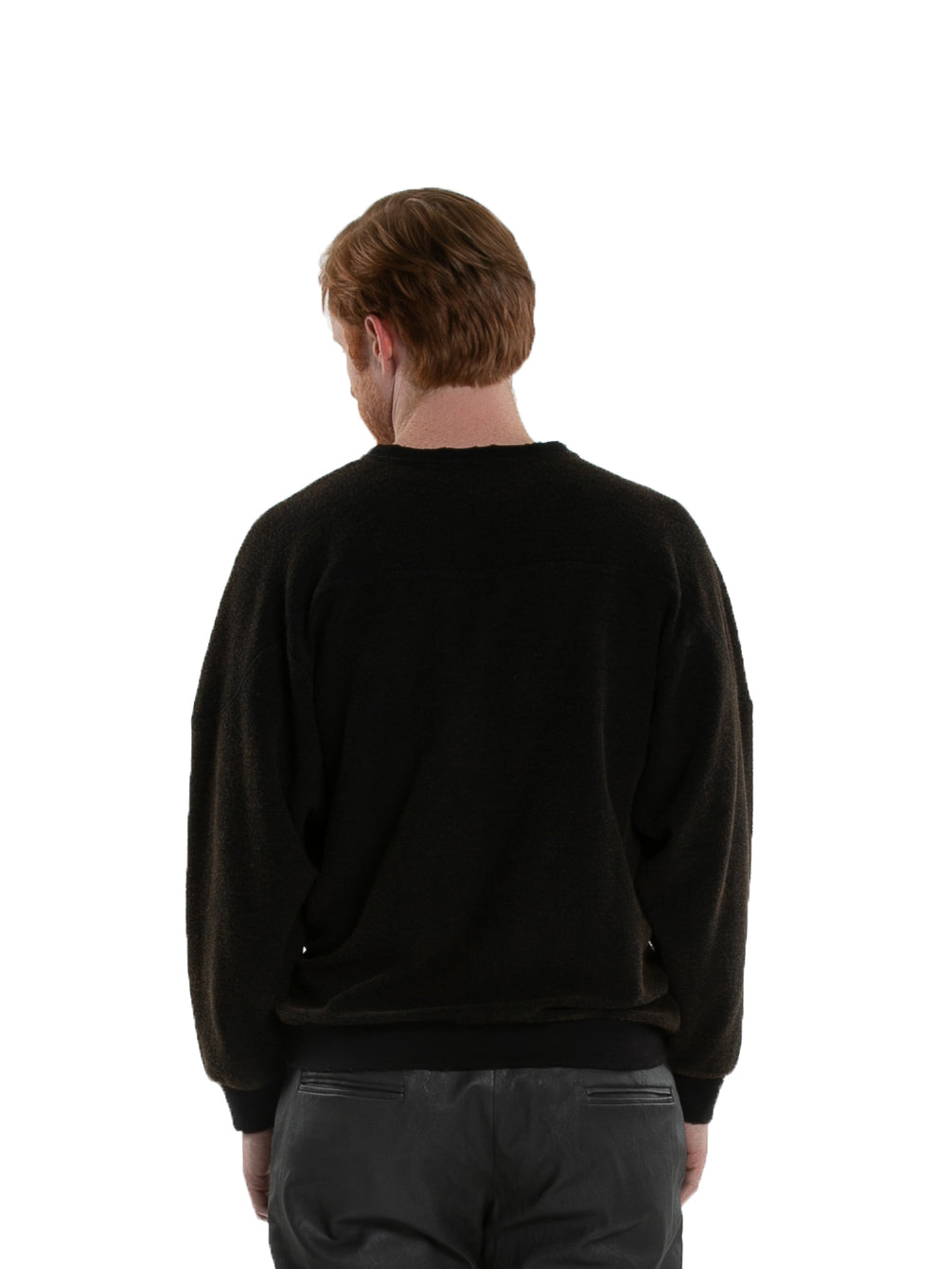 Backside of male model wearing Heavy Crew Sweat in Black