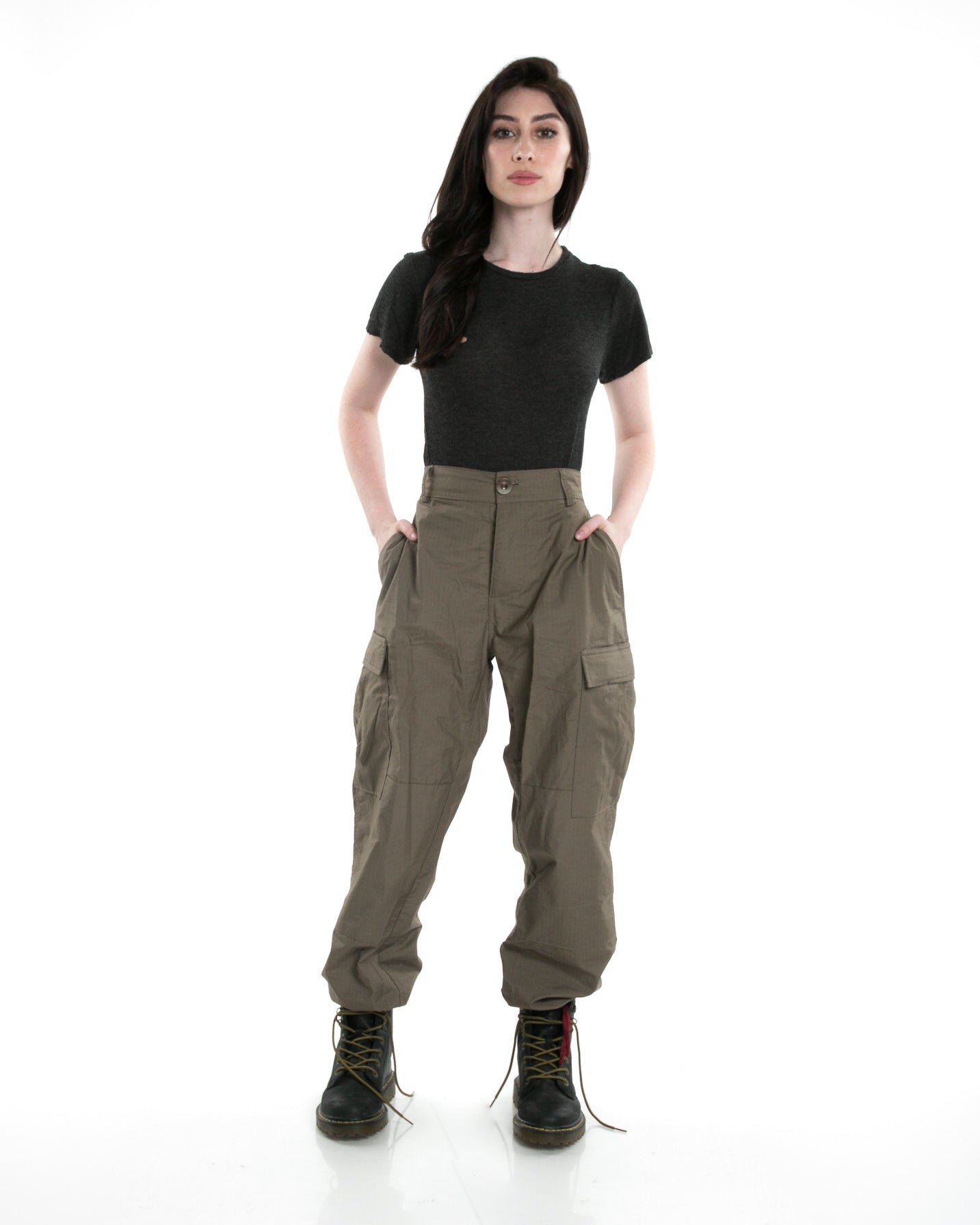 Front of female model wearing Infantry Pant in Army Green