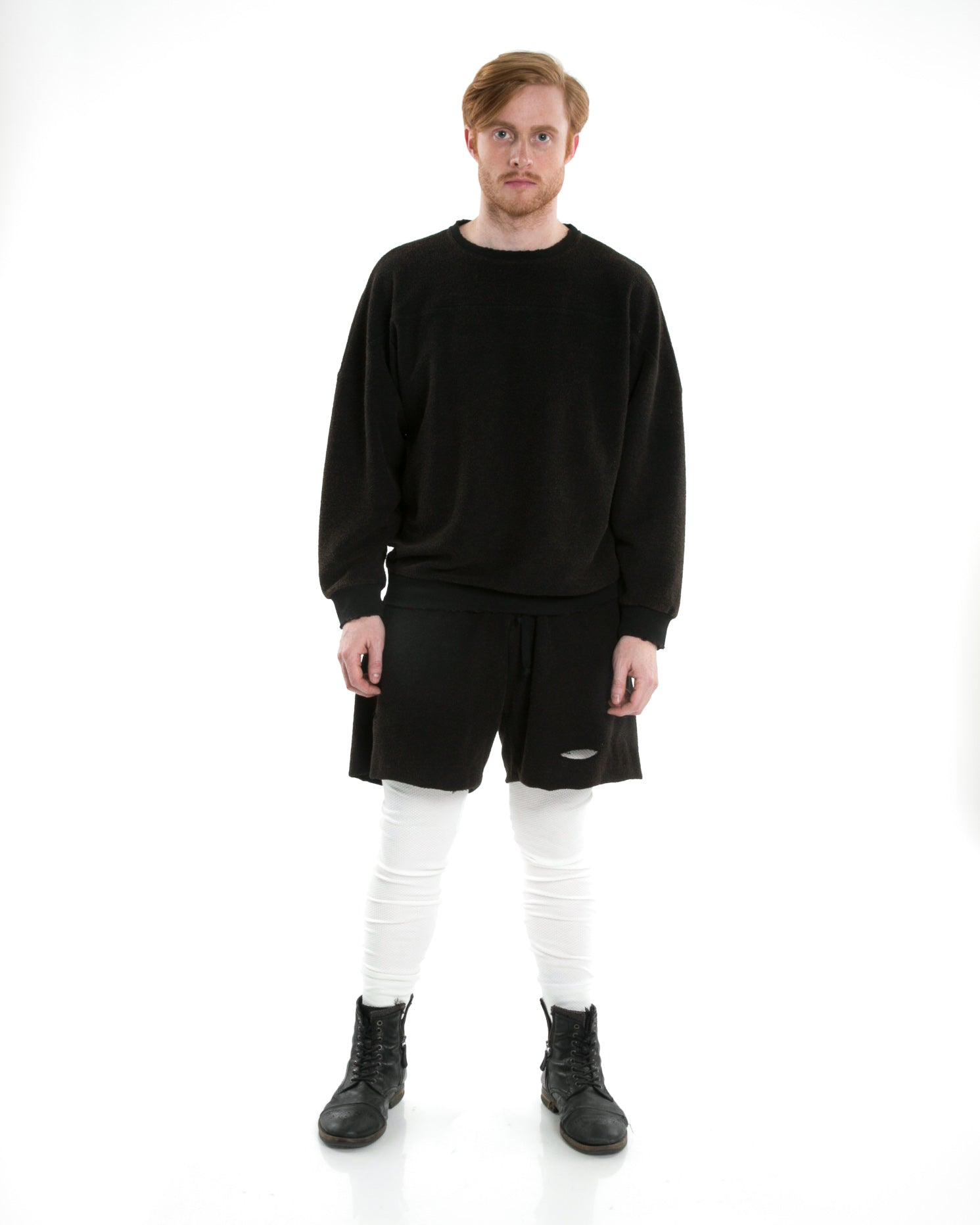 Front of male model wearing Terry Short in Black