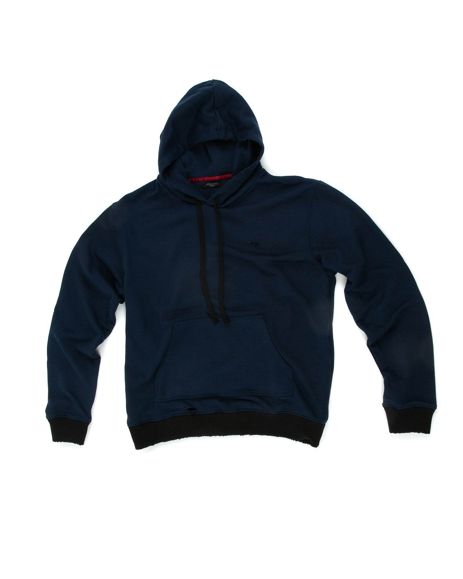 Front of Weighted Hoodie in Navy